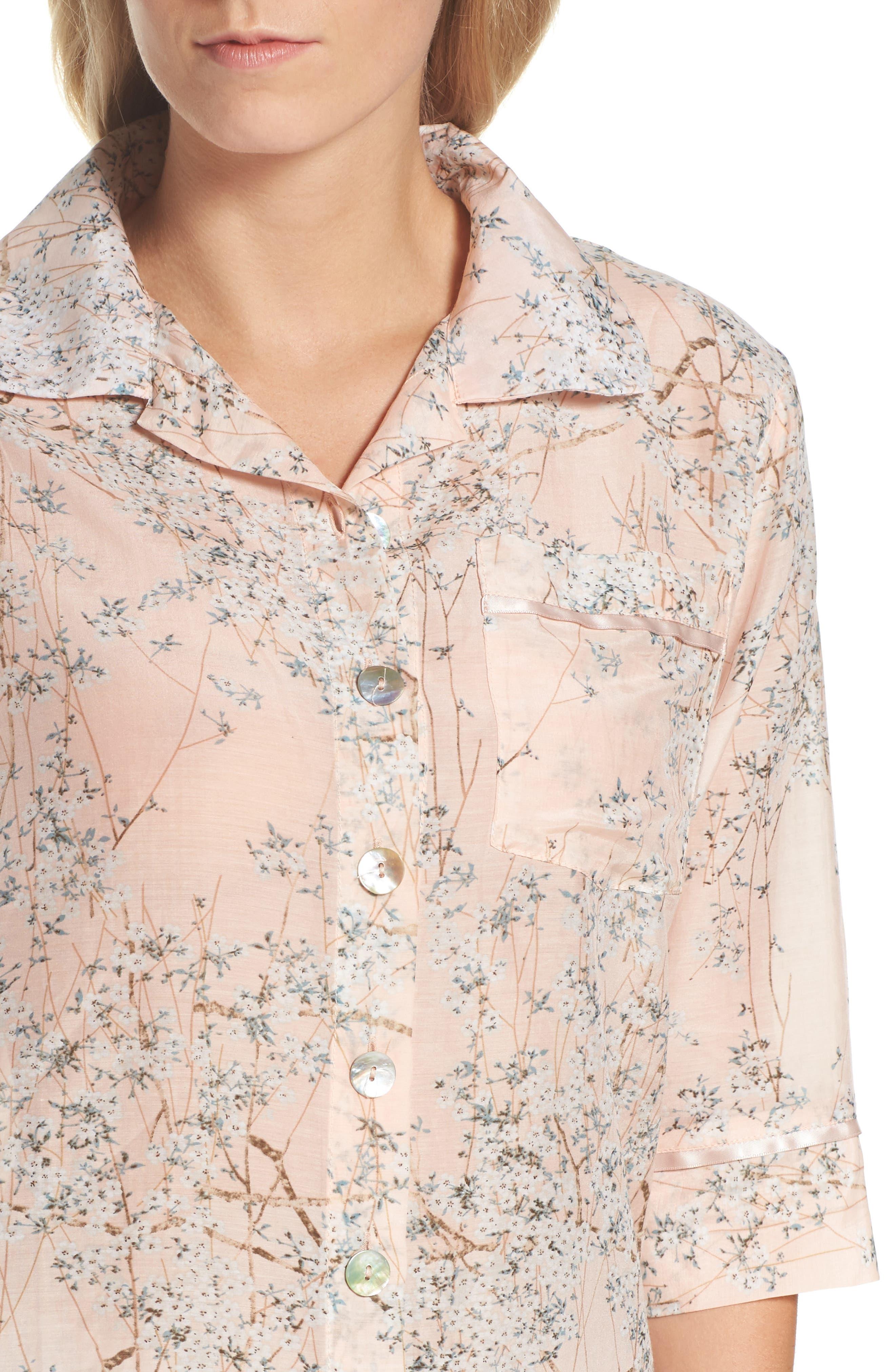 Cherry Blossom Cotton & Silk Crop Pajamas,                             Alternate thumbnail 5, color,                             Pink