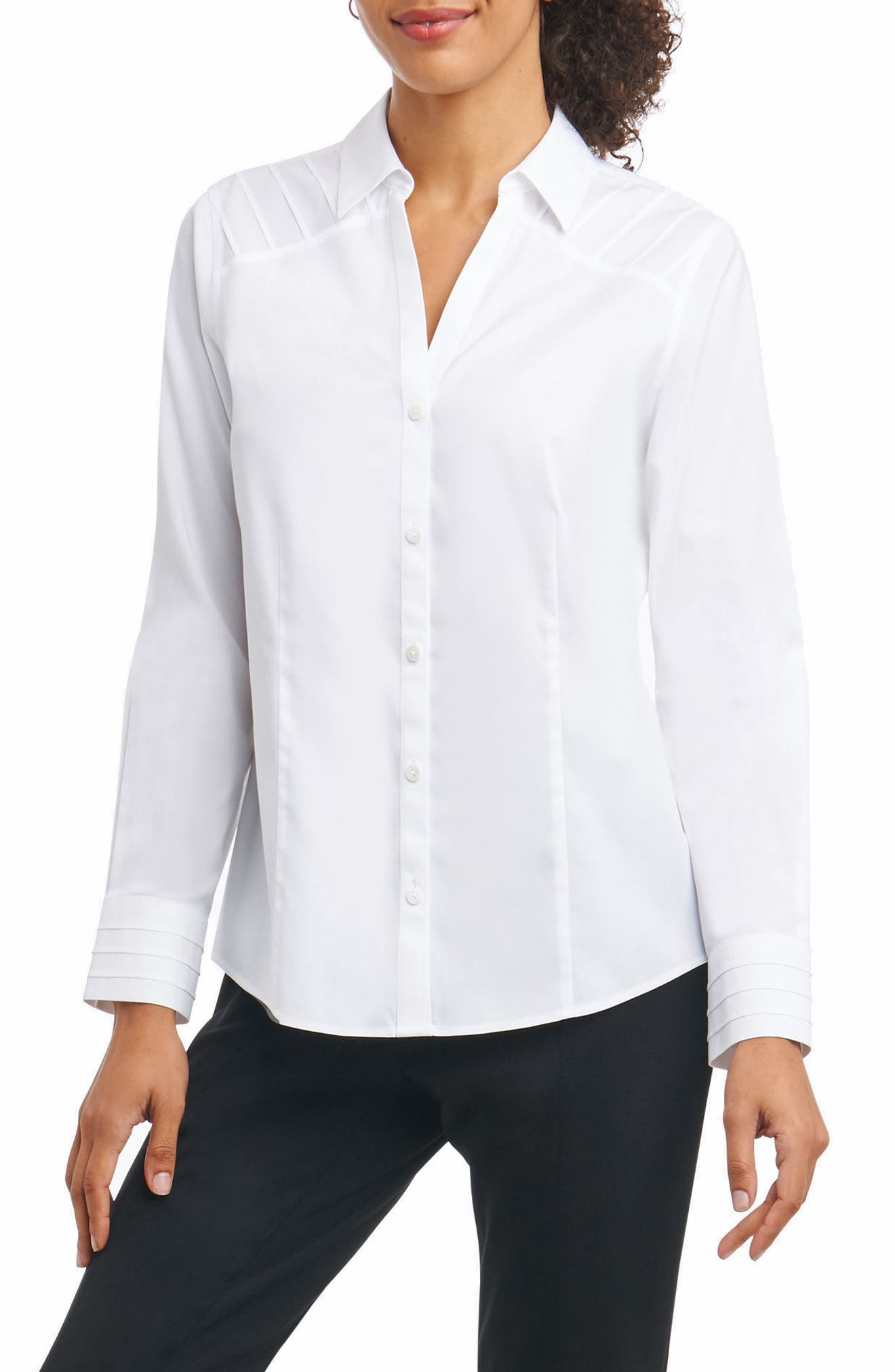 Rita in Solid Stretch Button Down Shirt,                             Main thumbnail 1, color,                             White