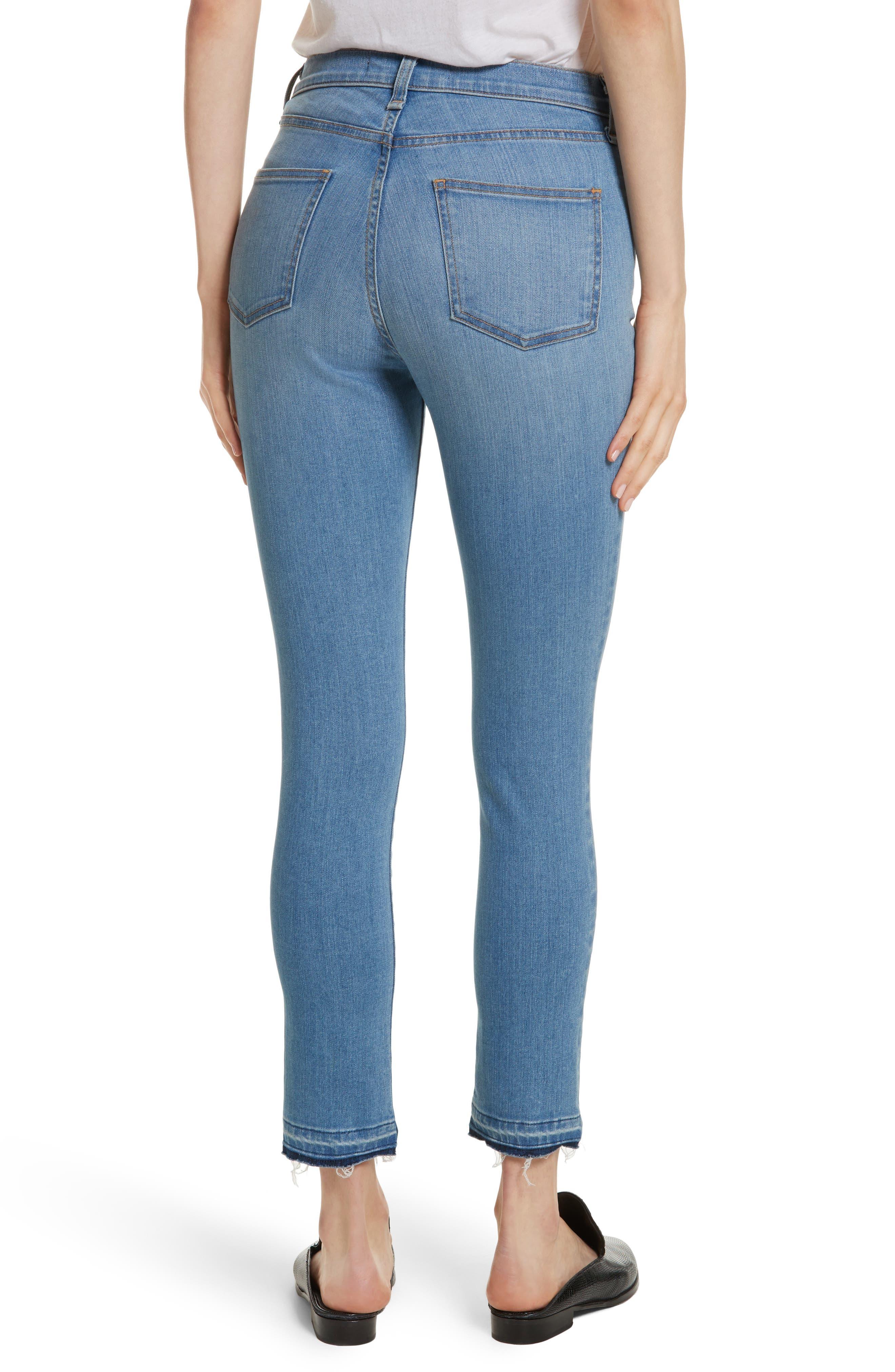 Debbie High Waist Fray Hem Jeans,                             Alternate thumbnail 2, color,                             Retro Blue