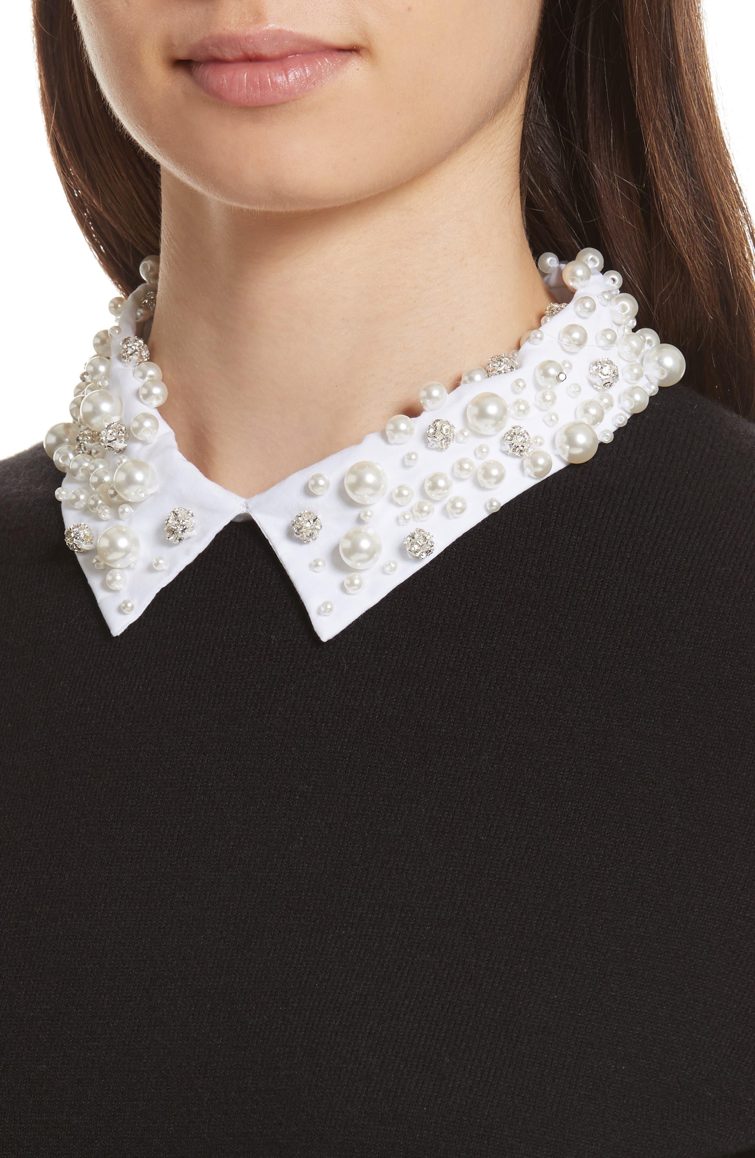 embellished collar sweater,                             Alternate thumbnail 4, color,                             Black