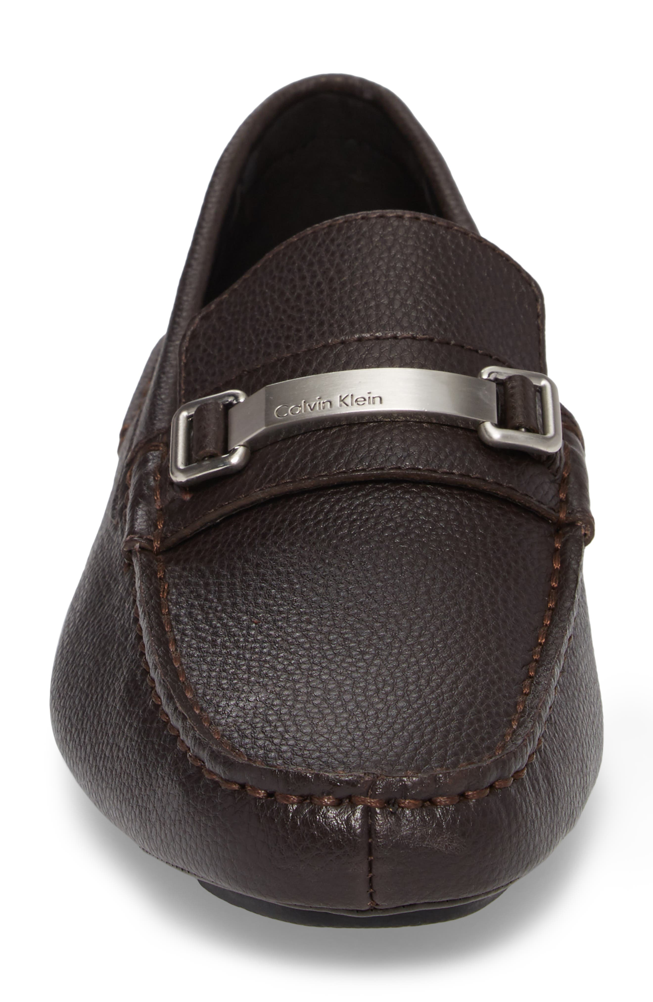 Mikos Driving Shoe,                             Alternate thumbnail 4, color,                             Dark Brown Leather
