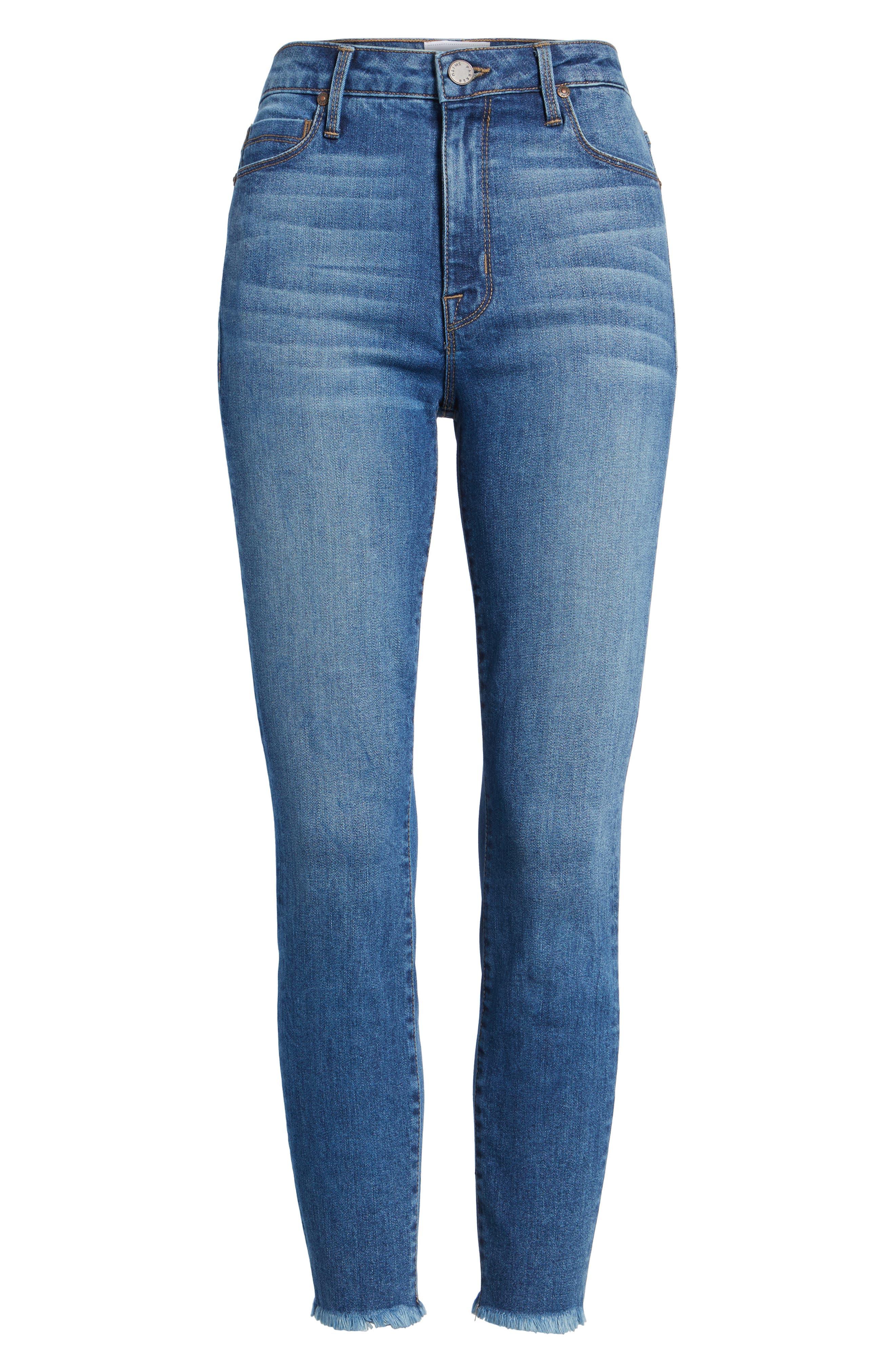 Bombshell Raw Hem Stretch Skinny Jeans,                             Alternate thumbnail 7, color,                             Dawn