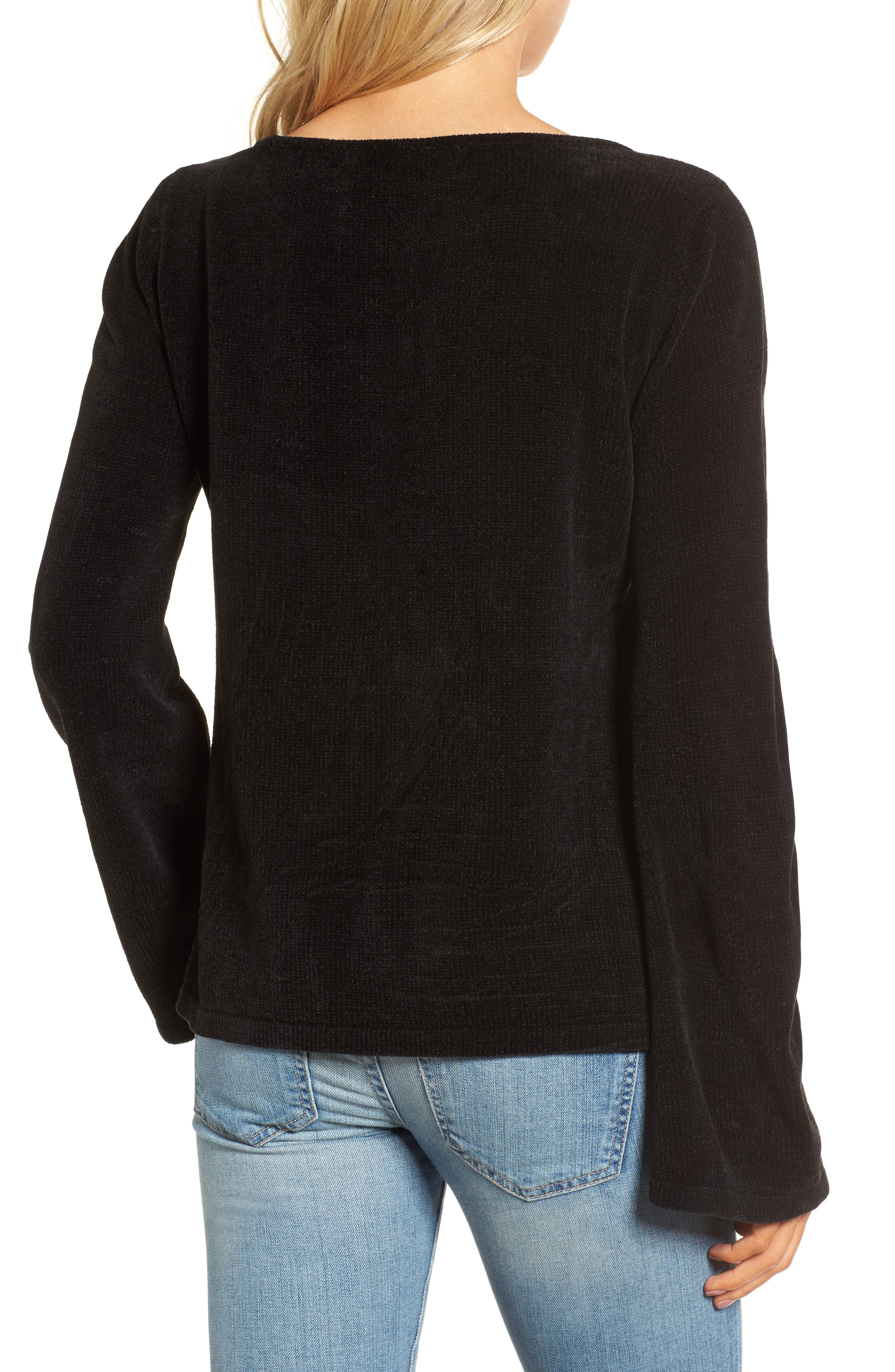 Ruthie Embroidered Sweater,                             Alternate thumbnail 2, color,                             Black