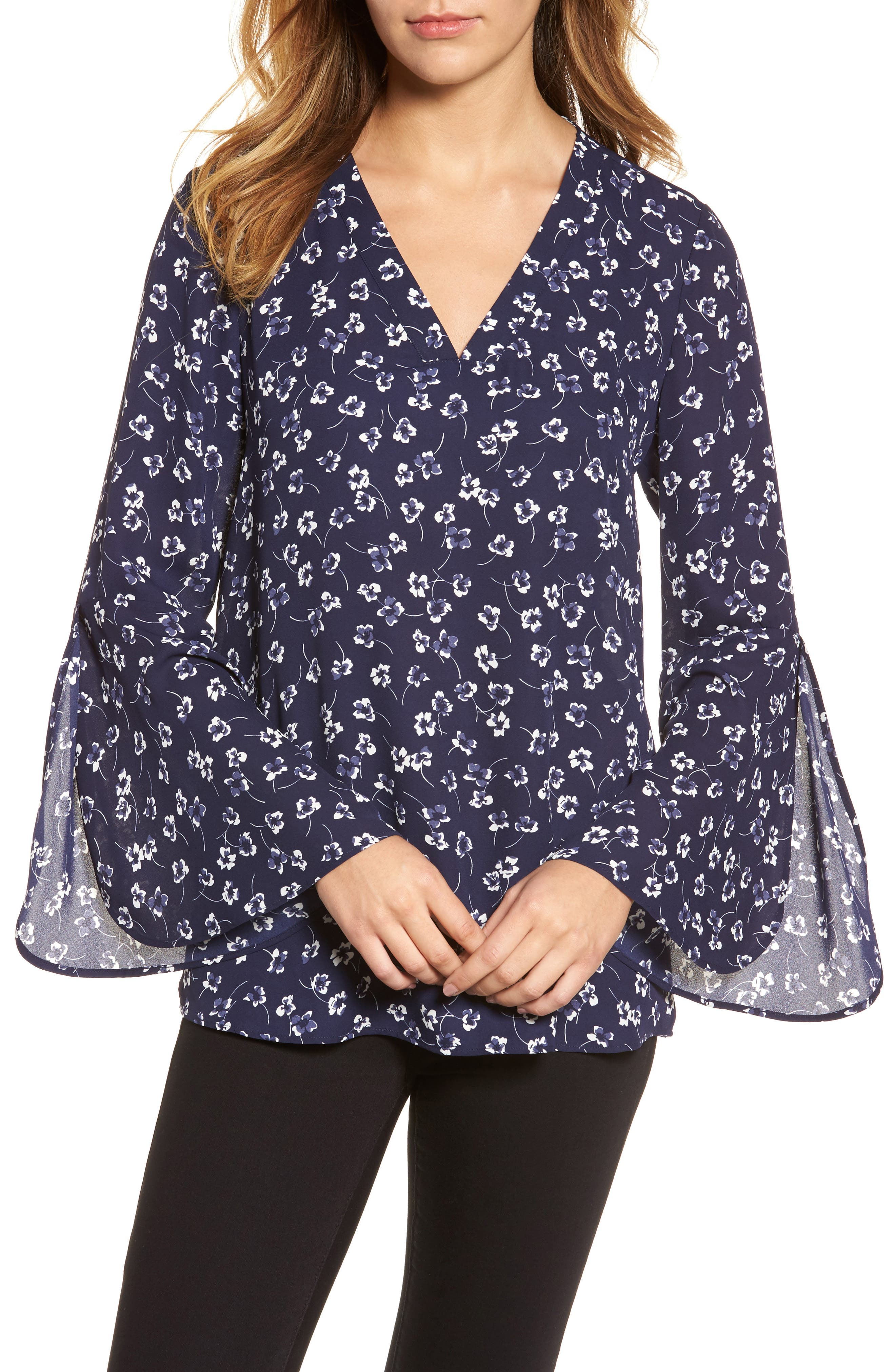 Ditsy Floral Print Bell Sleeve Blouse,                         Main,                         color, Evening Na