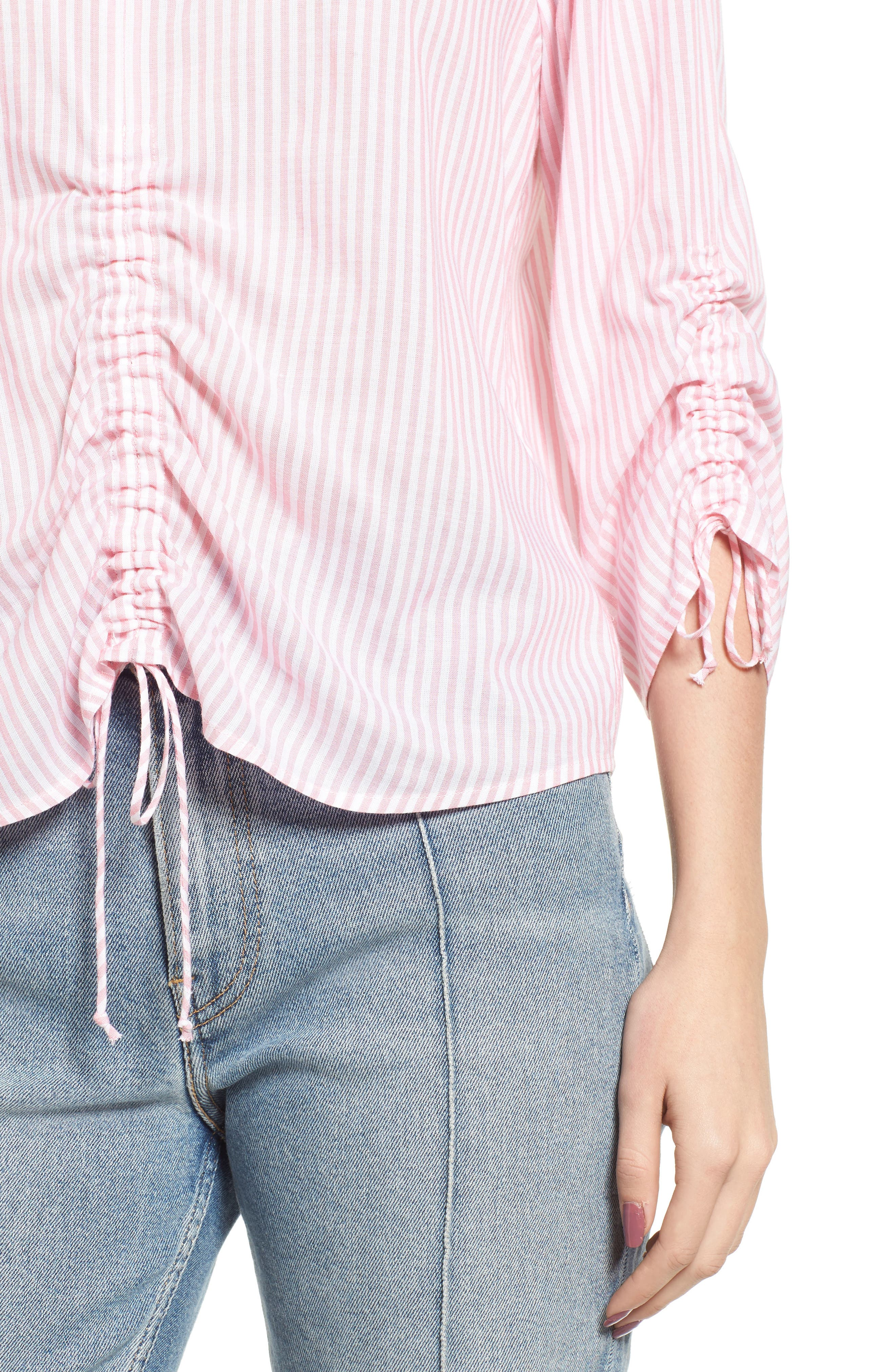 Stripe Cinched Front Top,                             Alternate thumbnail 4, color,                             Pink Stripe
