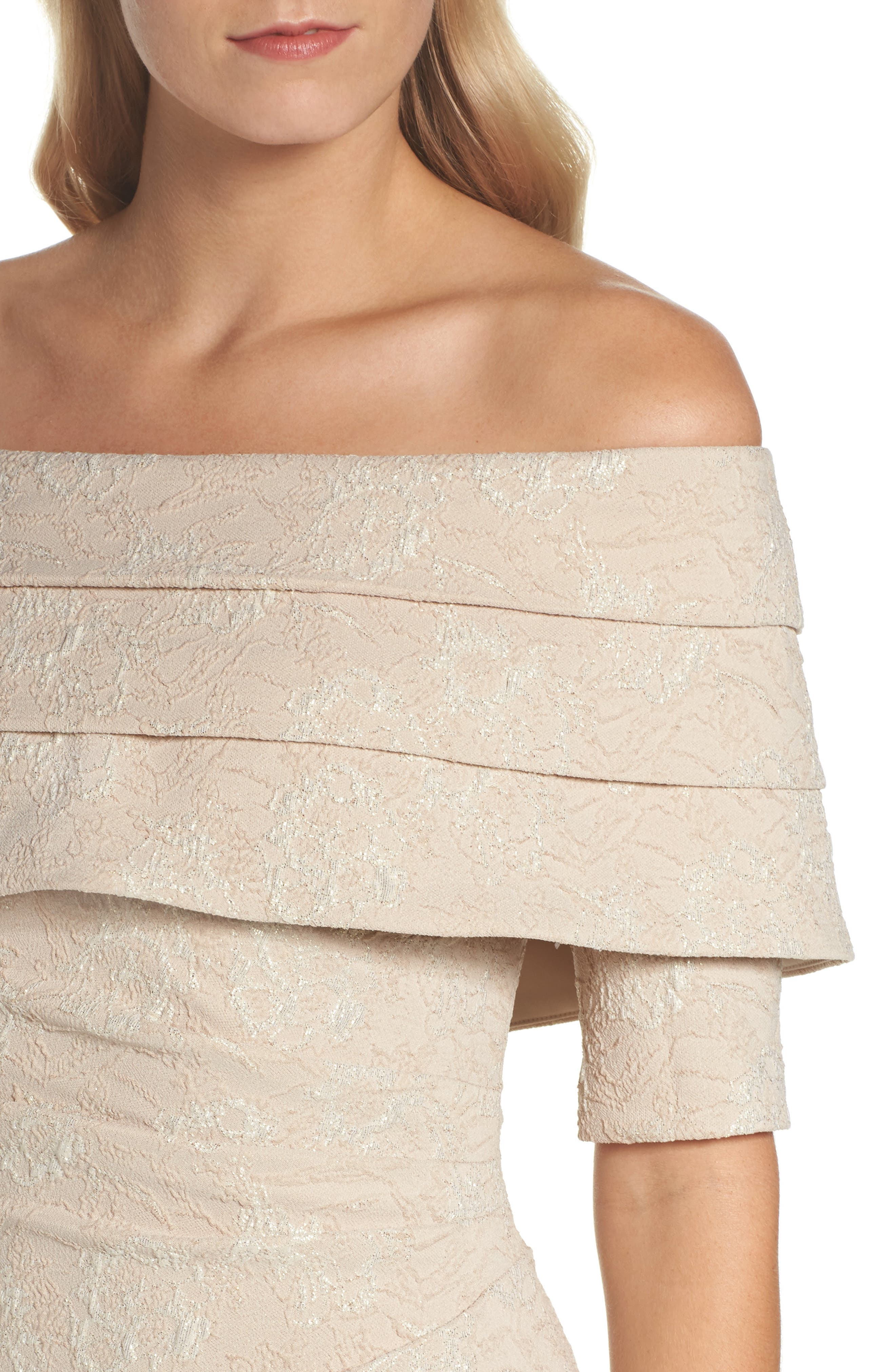 Brocade Off the Shoulder Trumpet Gown,                             Alternate thumbnail 4, color,                             Champagne