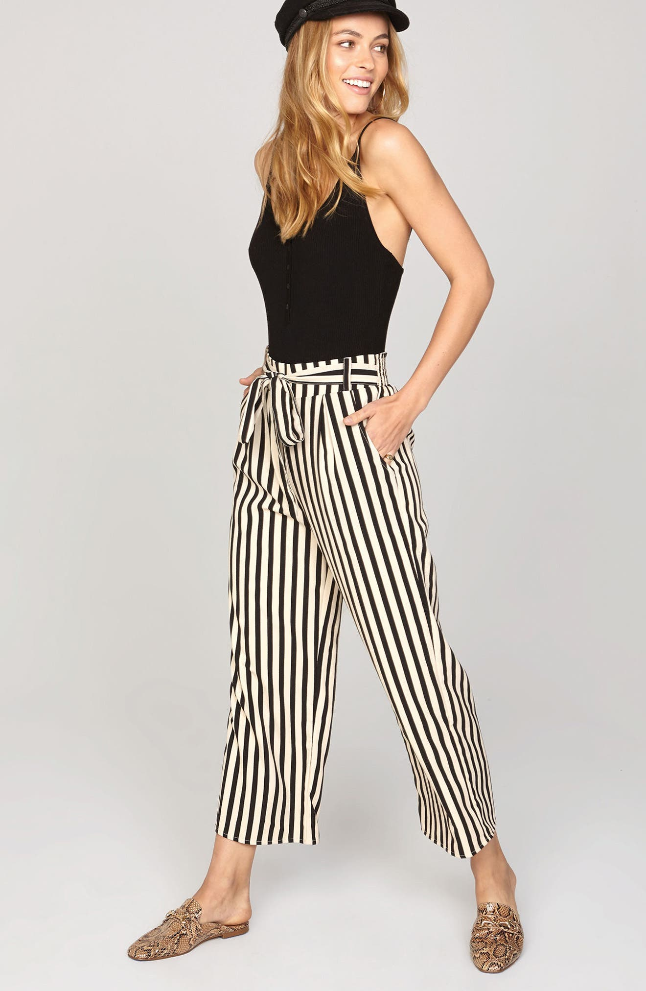 Stripe Crop Wide Leg Pants,                             Alternate thumbnail 2, color,                             Black Sands