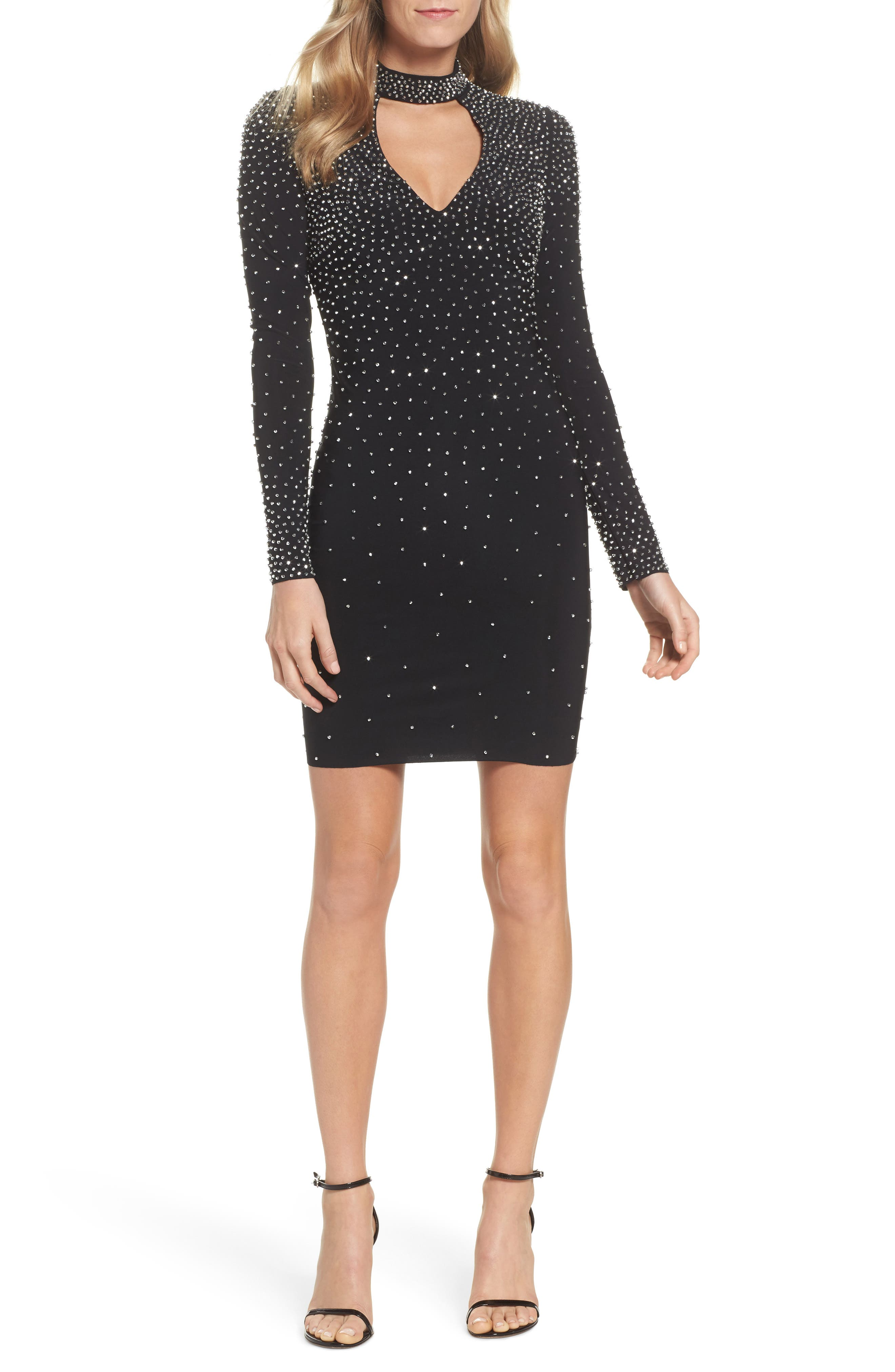 Embellished Choker Neck Body-Con Dress,                             Main thumbnail 1, color,                             Black/ Silver