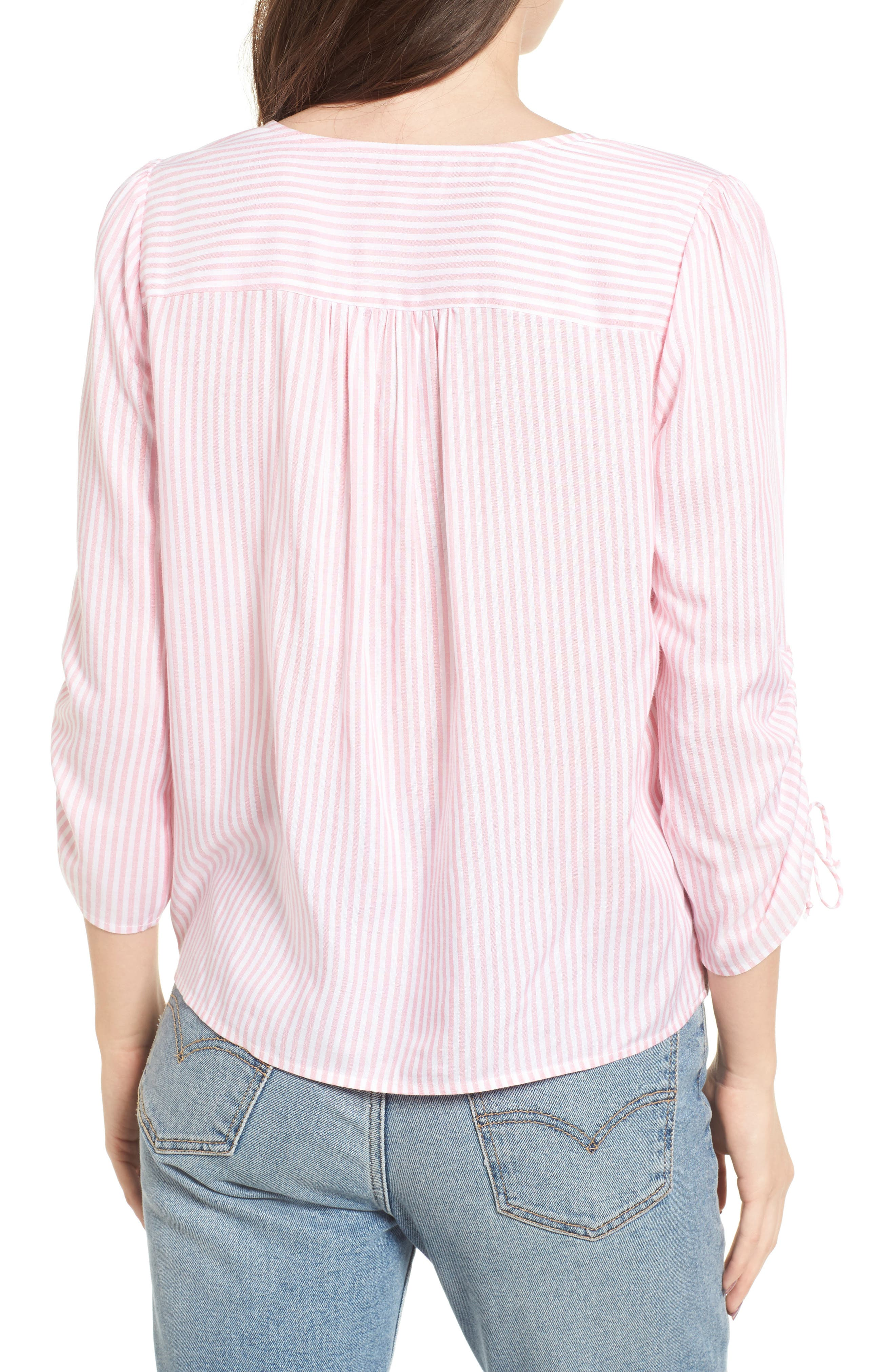 Stripe Cinched Front Top,                             Alternate thumbnail 2, color,                             Pink Stripe
