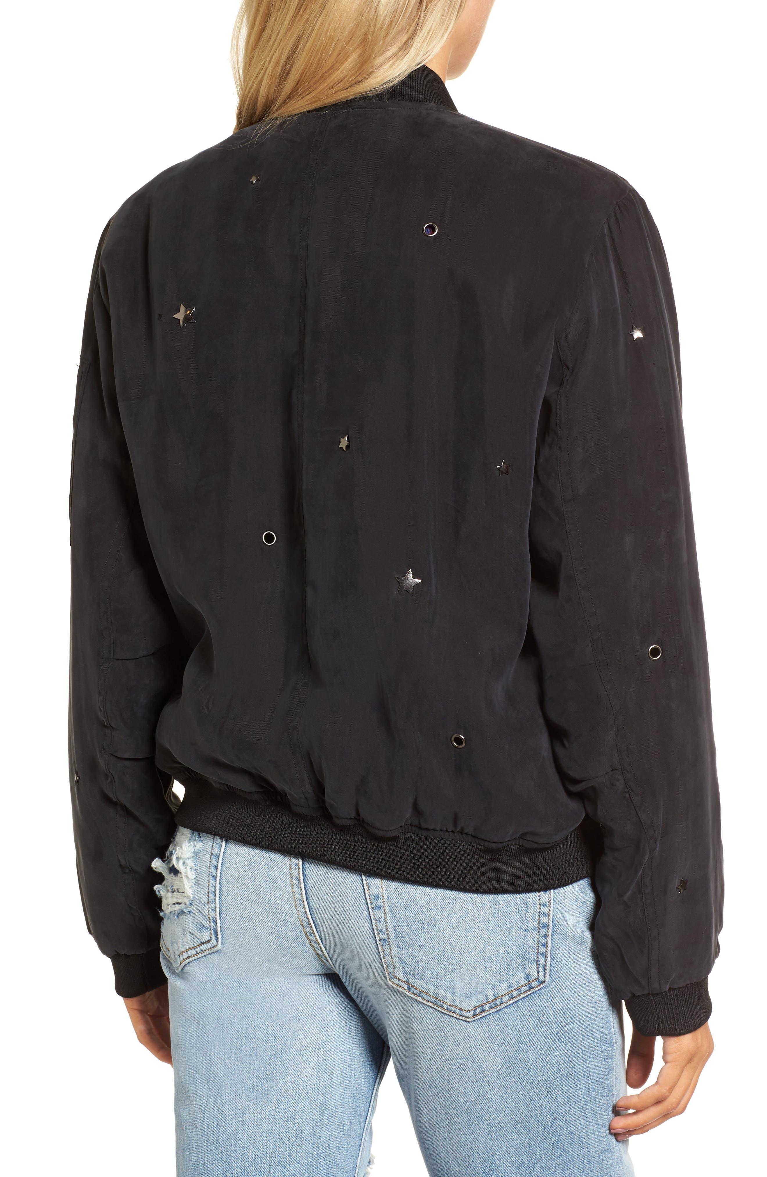 Ace Embellished Bomber Jacket,                             Alternate thumbnail 2, color,                             Black-Studded