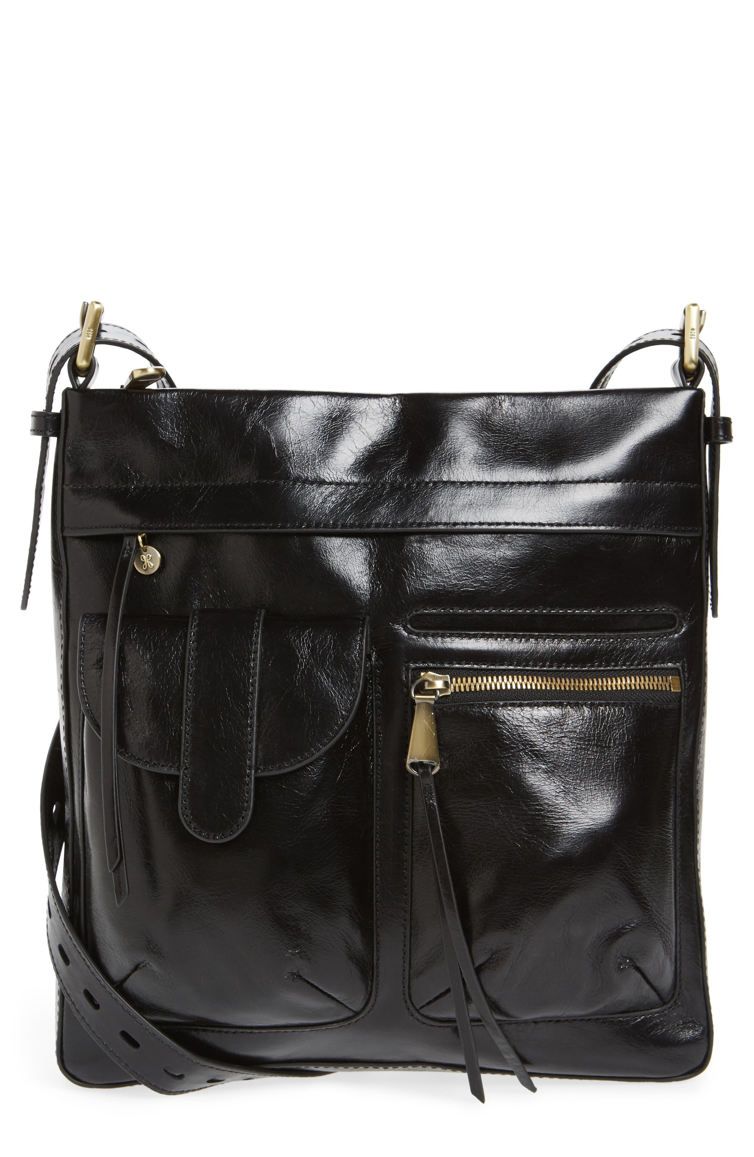 Crusade Leather Crossbody Bag,                             Main thumbnail 1, color,                             Black