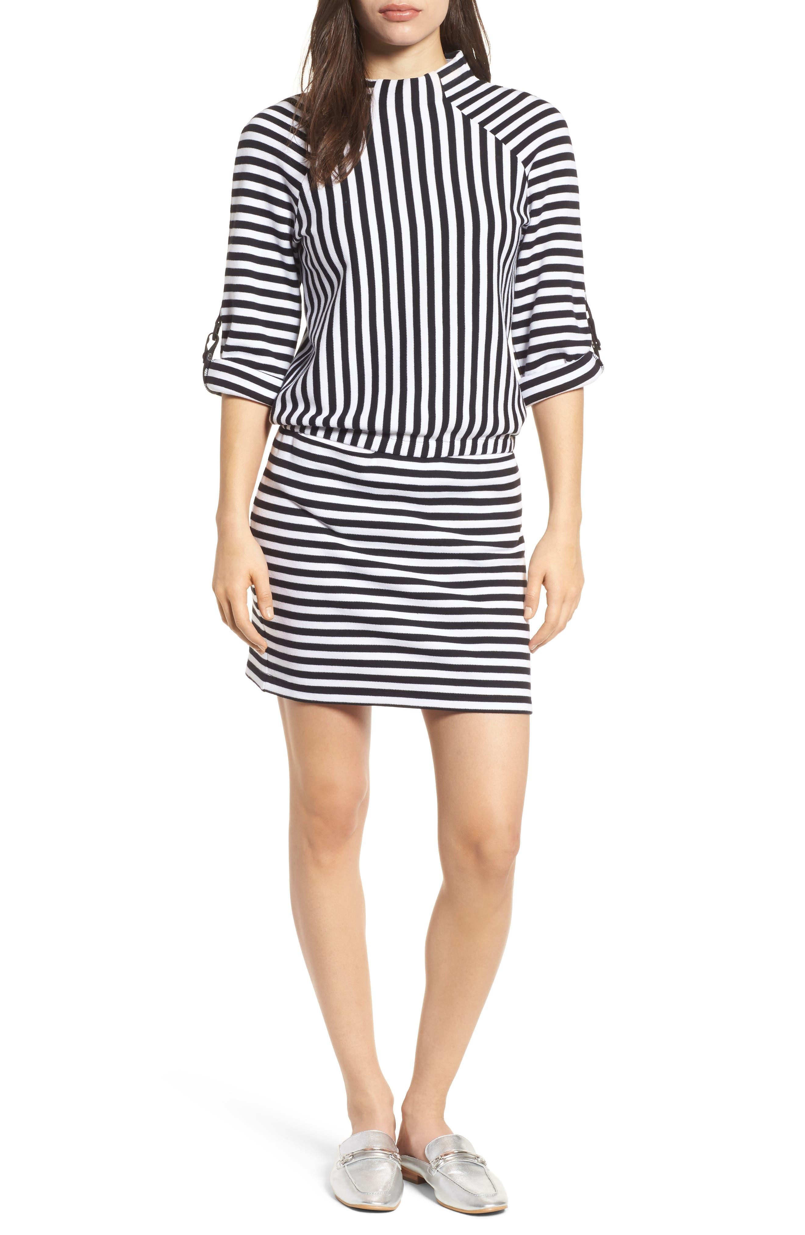 Mock Neck Tee Dress,                         Main,                         color, Midnight Stripe Black