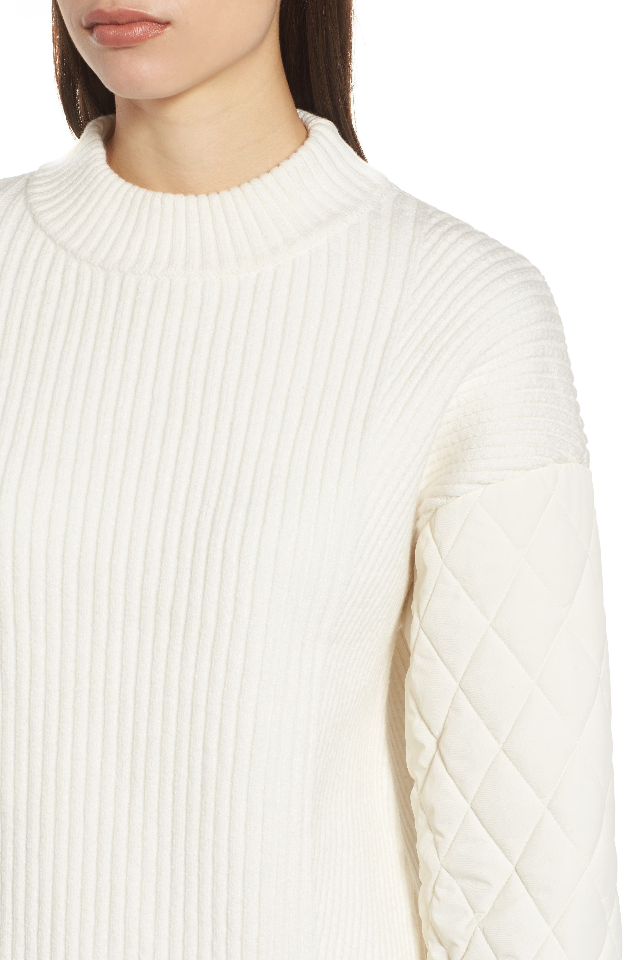 Quilted Sleeve Sweater,                             Alternate thumbnail 4, color,                             E Cream