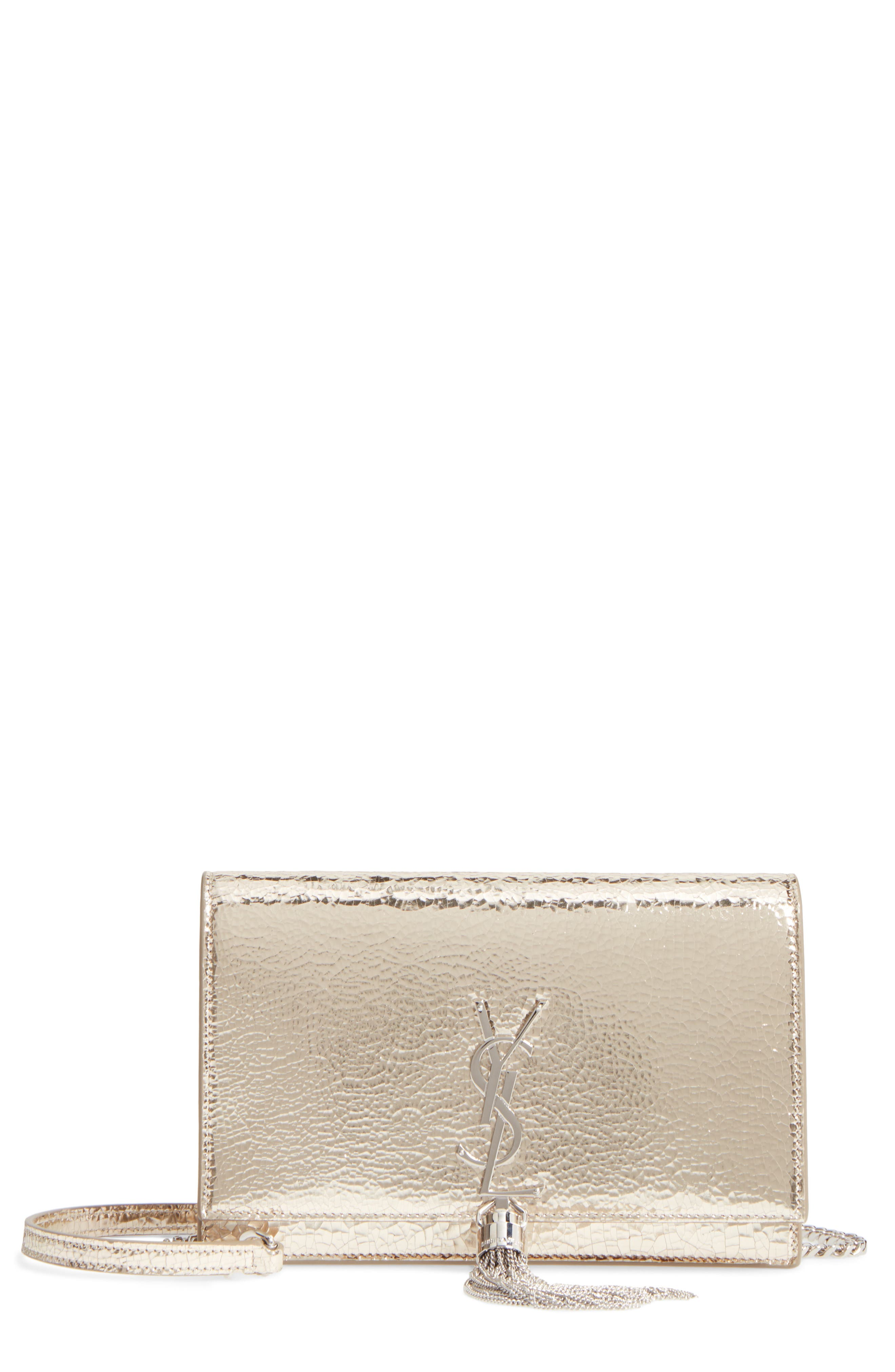 Kate Crackle Calfskin Wallet on a Chain,                         Main,                         color, Pale Gold