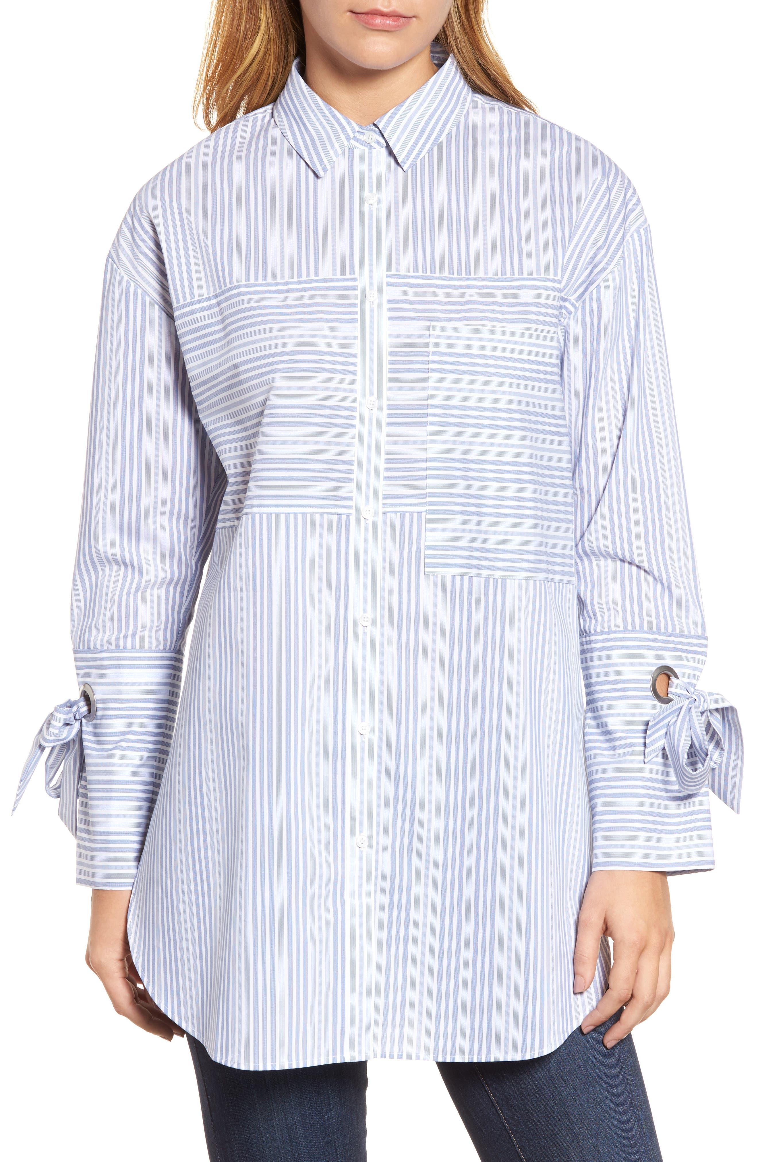 Pocket Detail Stripe Tunic Top,                             Main thumbnail 1, color,                             Blue- White Stripe