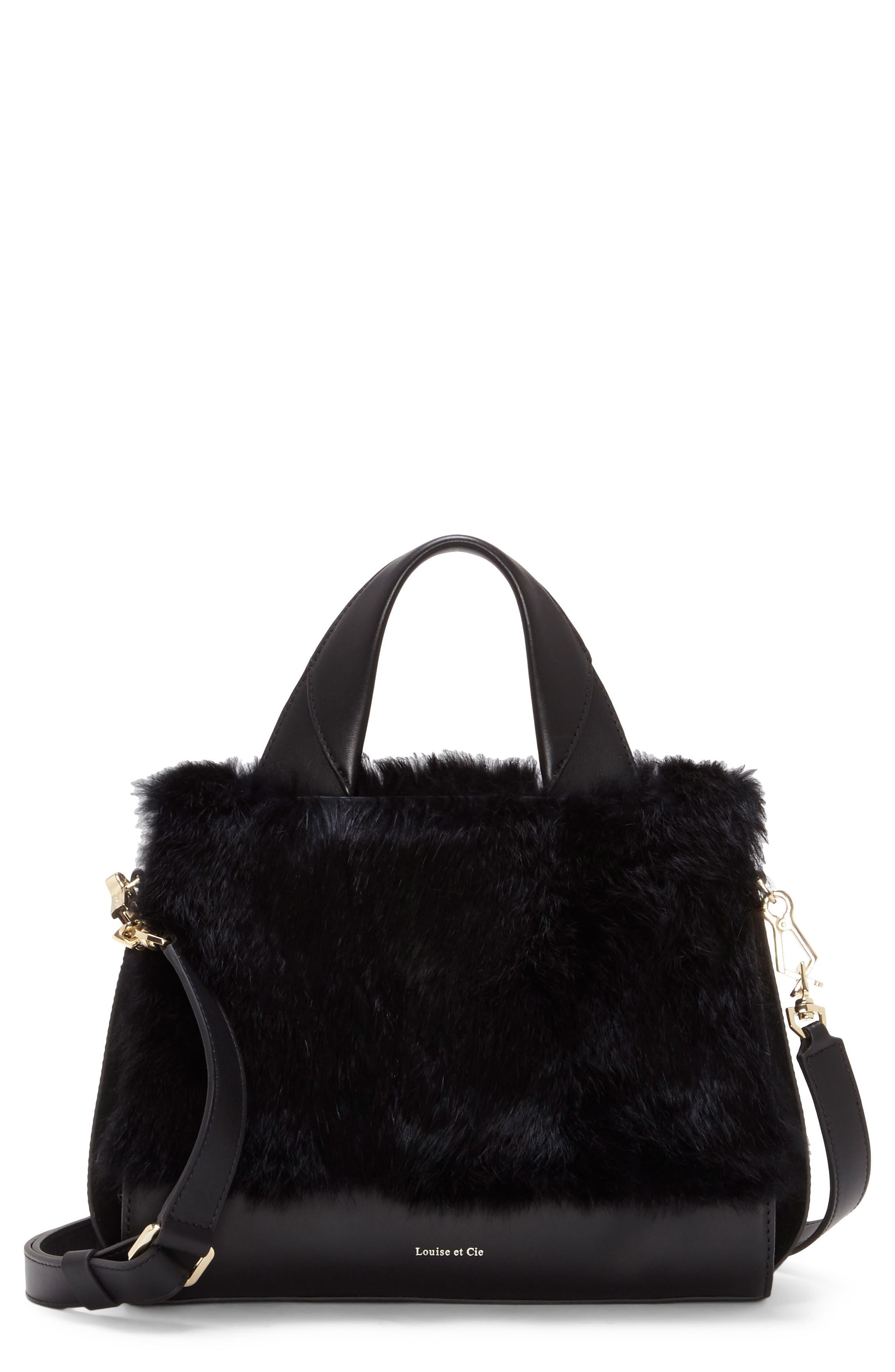 Tysse Leather & Genuine Rabbit Fur Satchel,                             Main thumbnail 1, color,                             Black