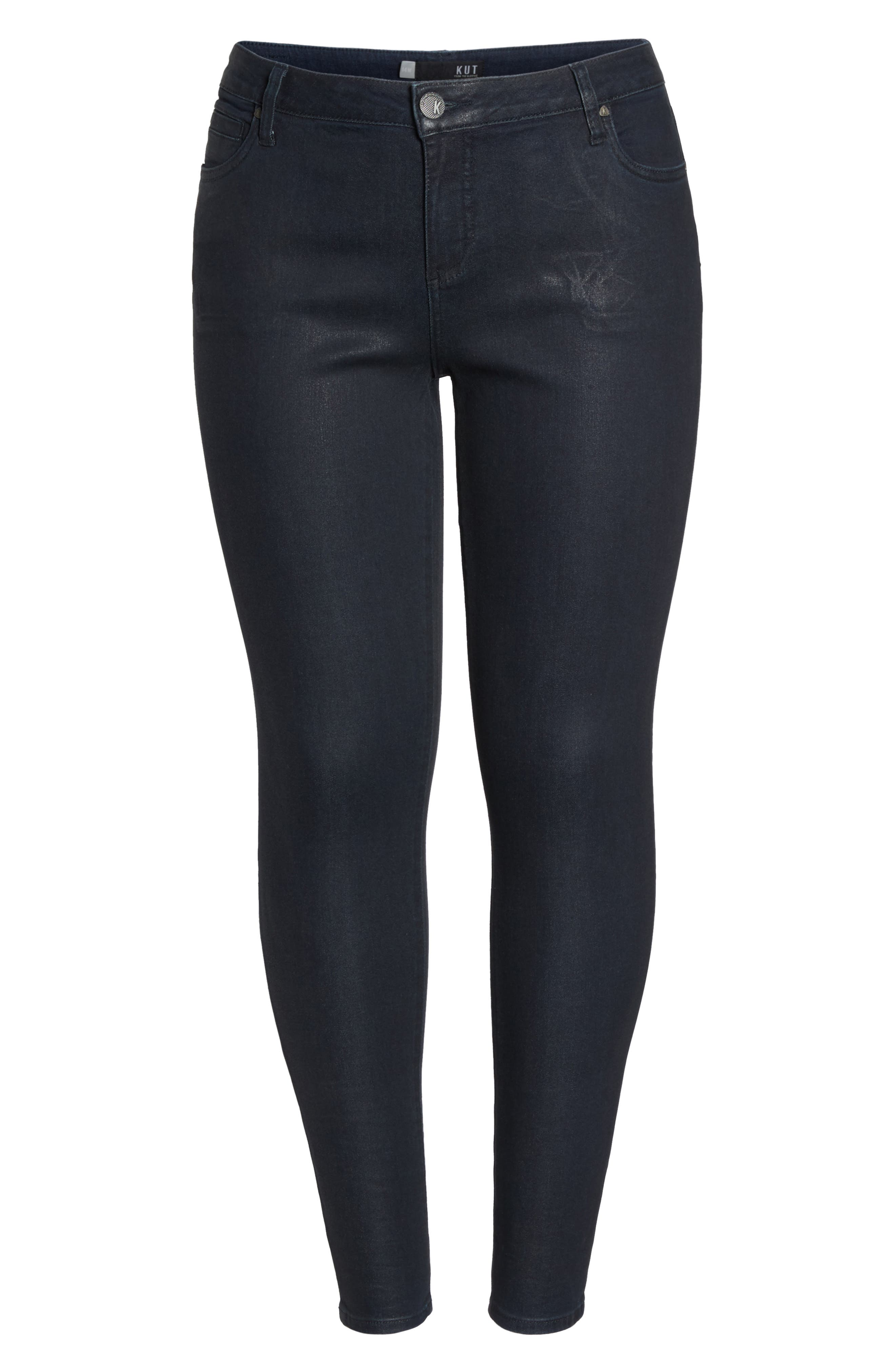 Mia Toothpick Jeans,                             Alternate thumbnail 6, color,                             Navy