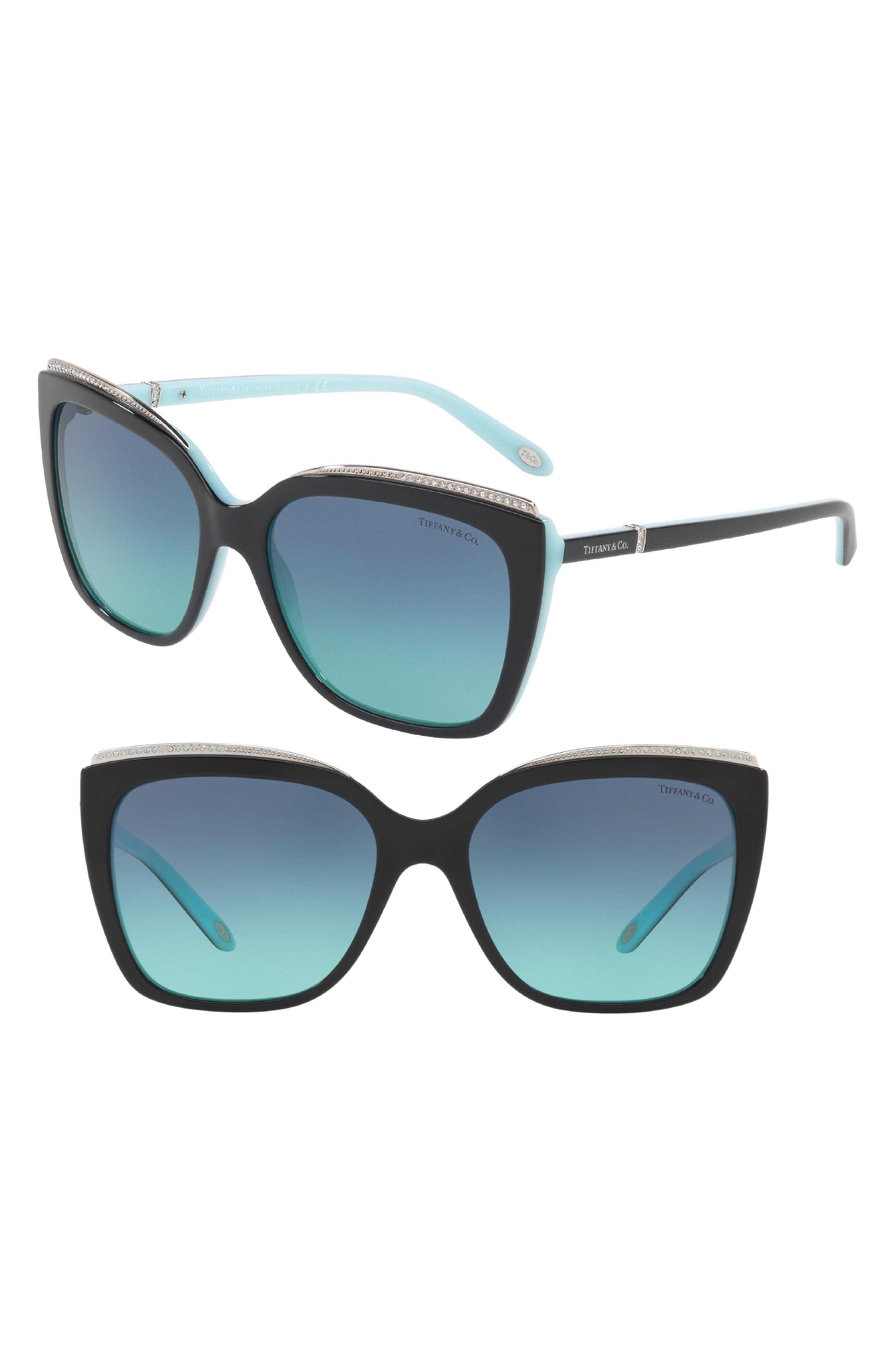 Tiffany 56mm Sunglasses,                         Main,                         color, Black/ Blue