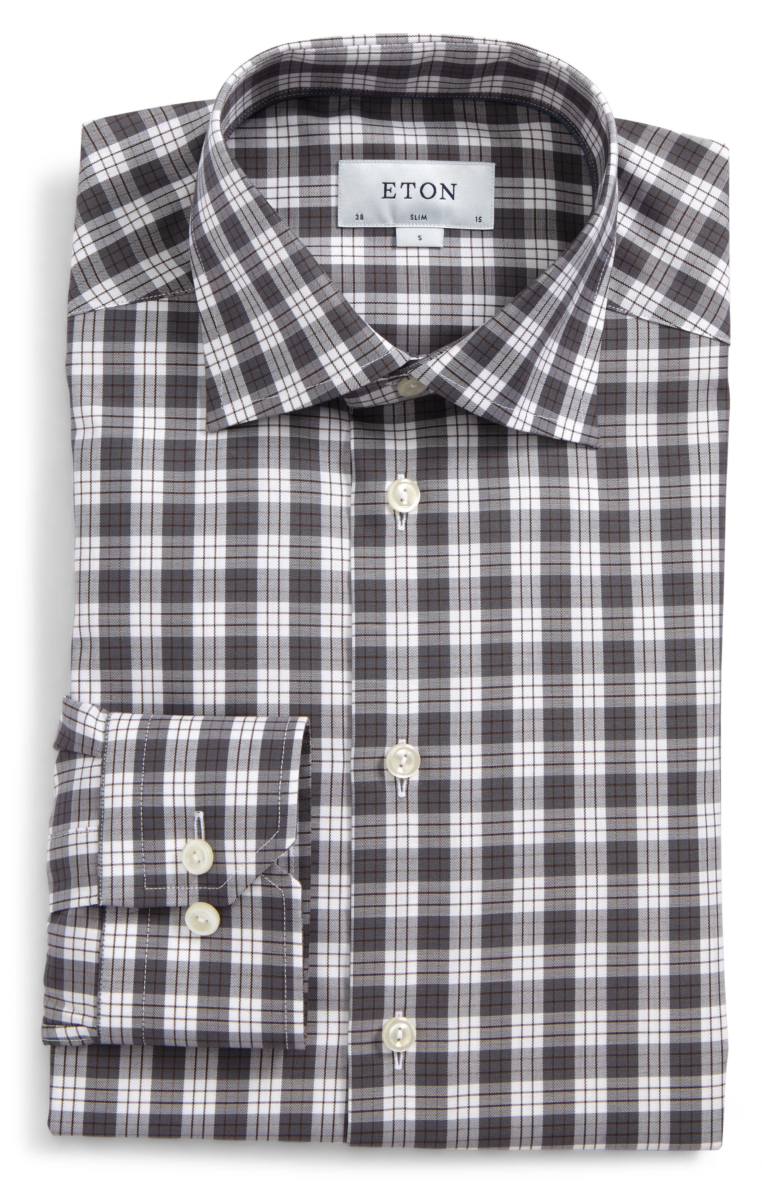 Eton Slim Fit Plaid Dress Shirt