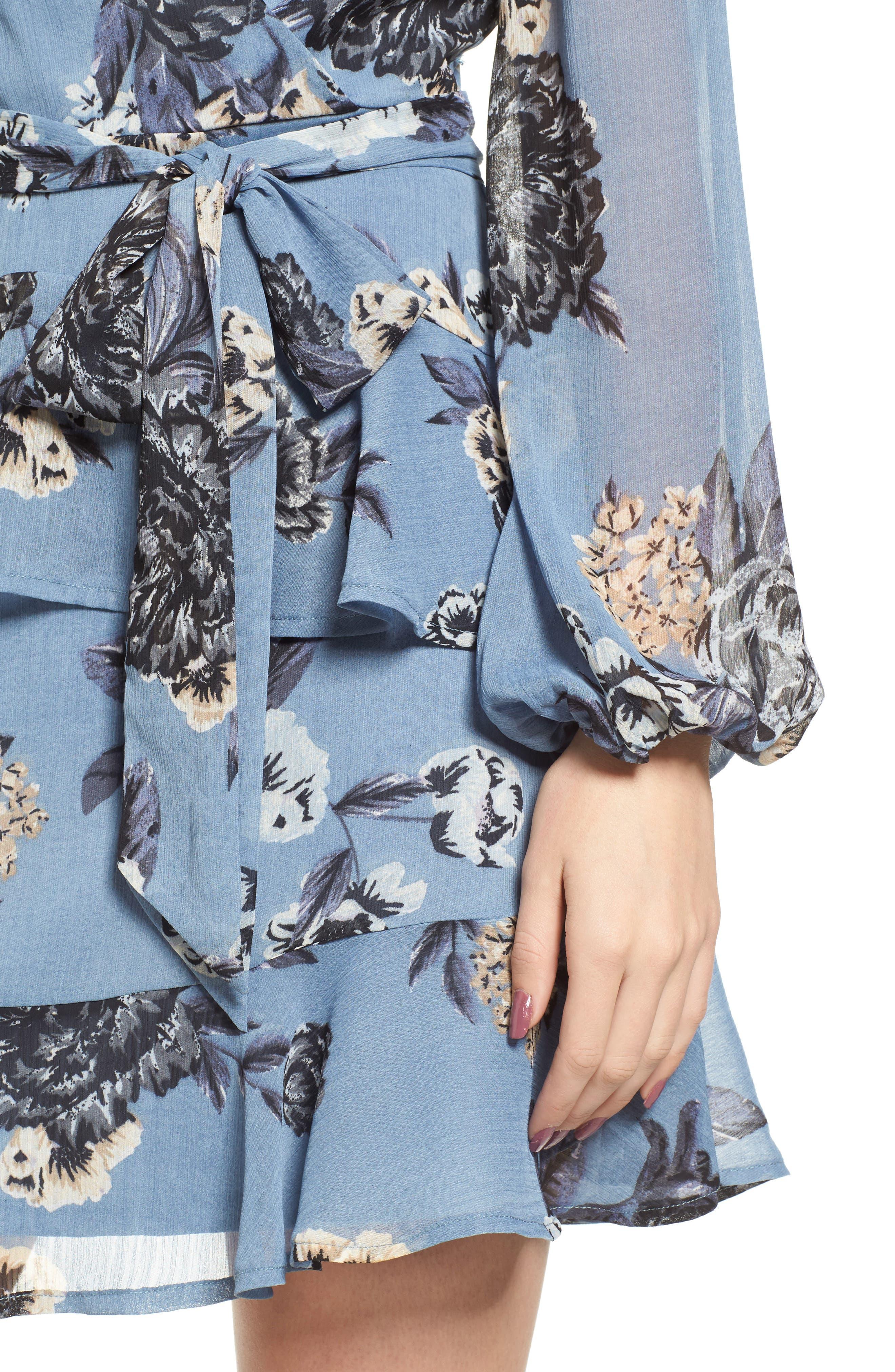 Floral Wrap Style Dress,                             Alternate thumbnail 4, color,                             Blue Print