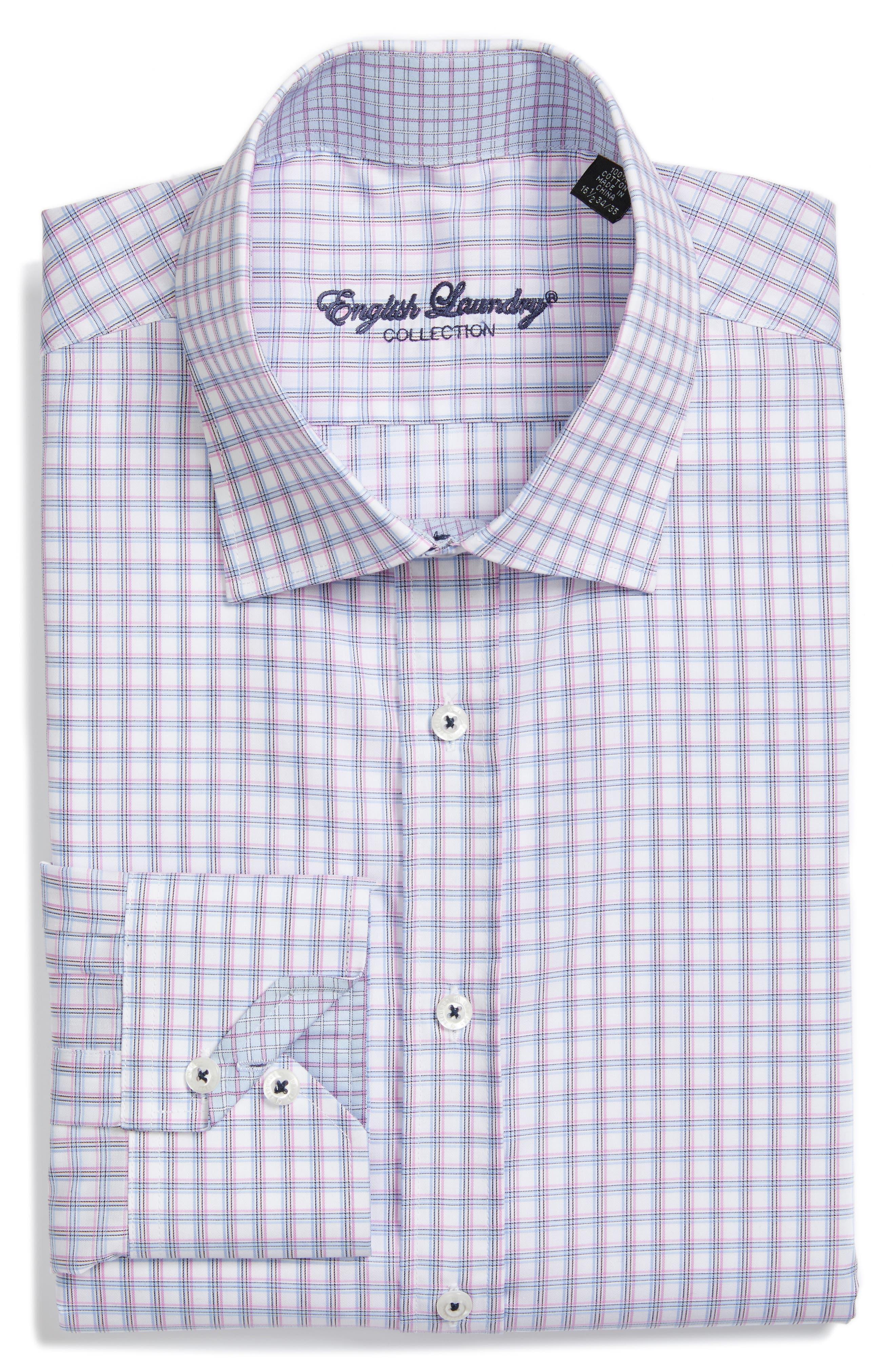 Trim Fit Check Dress Shirt,                         Main,                         color, Purple