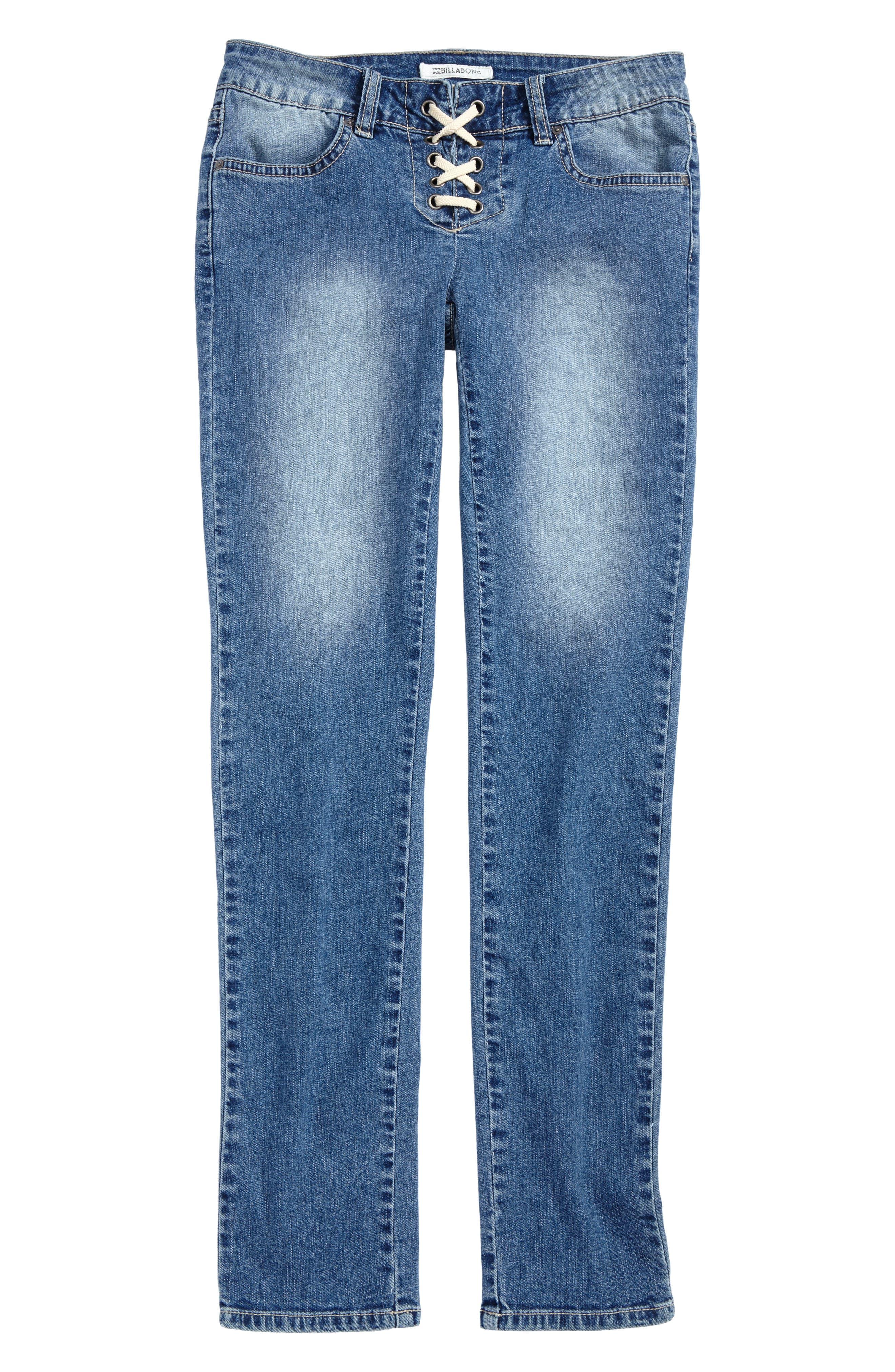 Alternate Image 1 Selected - Billabong Side to Side Skinny Jeans (Big Girls)