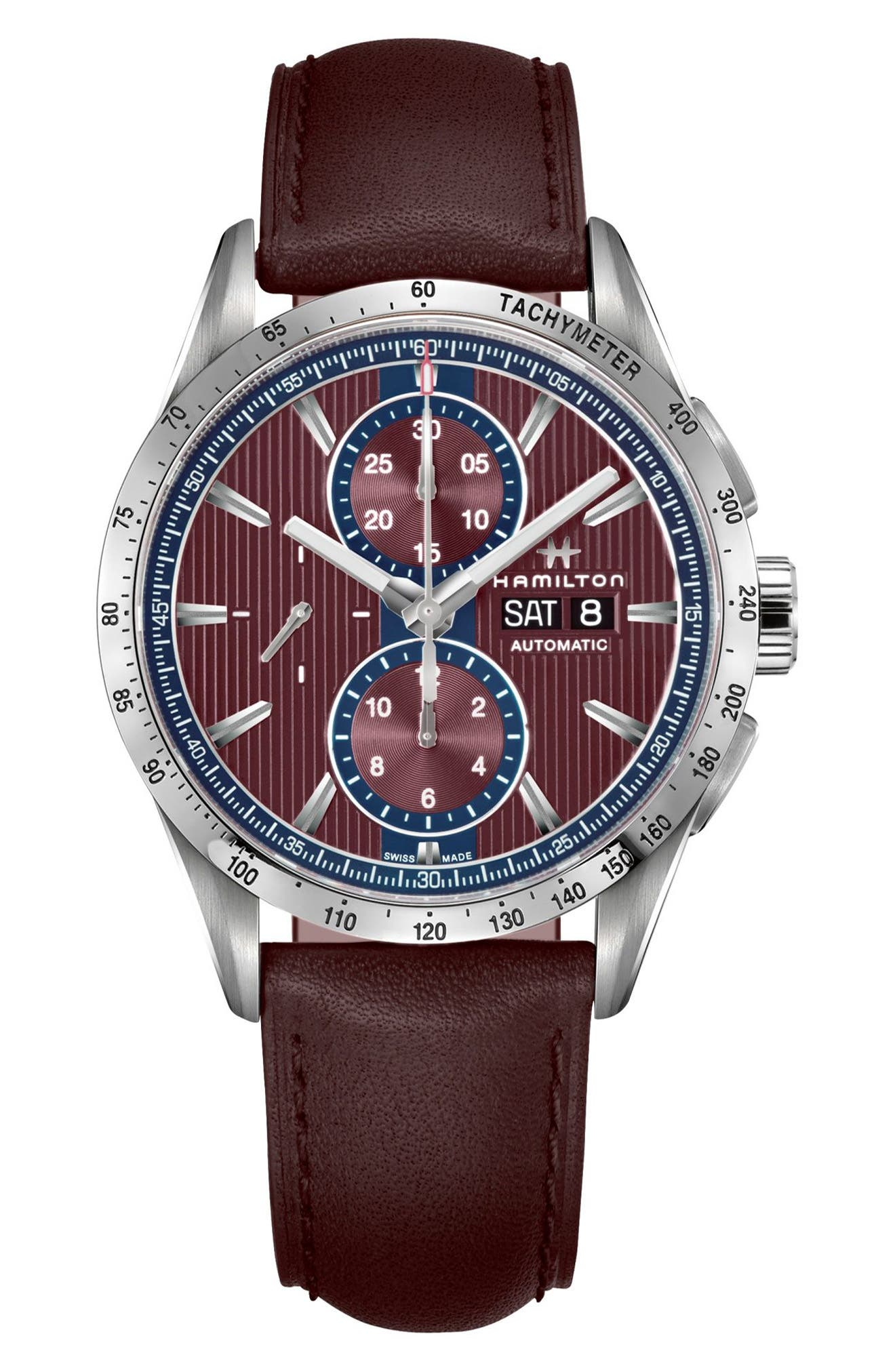 Broadway Automatic Chronograph Leather Strap Watch, 43mm,                         Main,                         color, Aubergine/ Red/ Silver