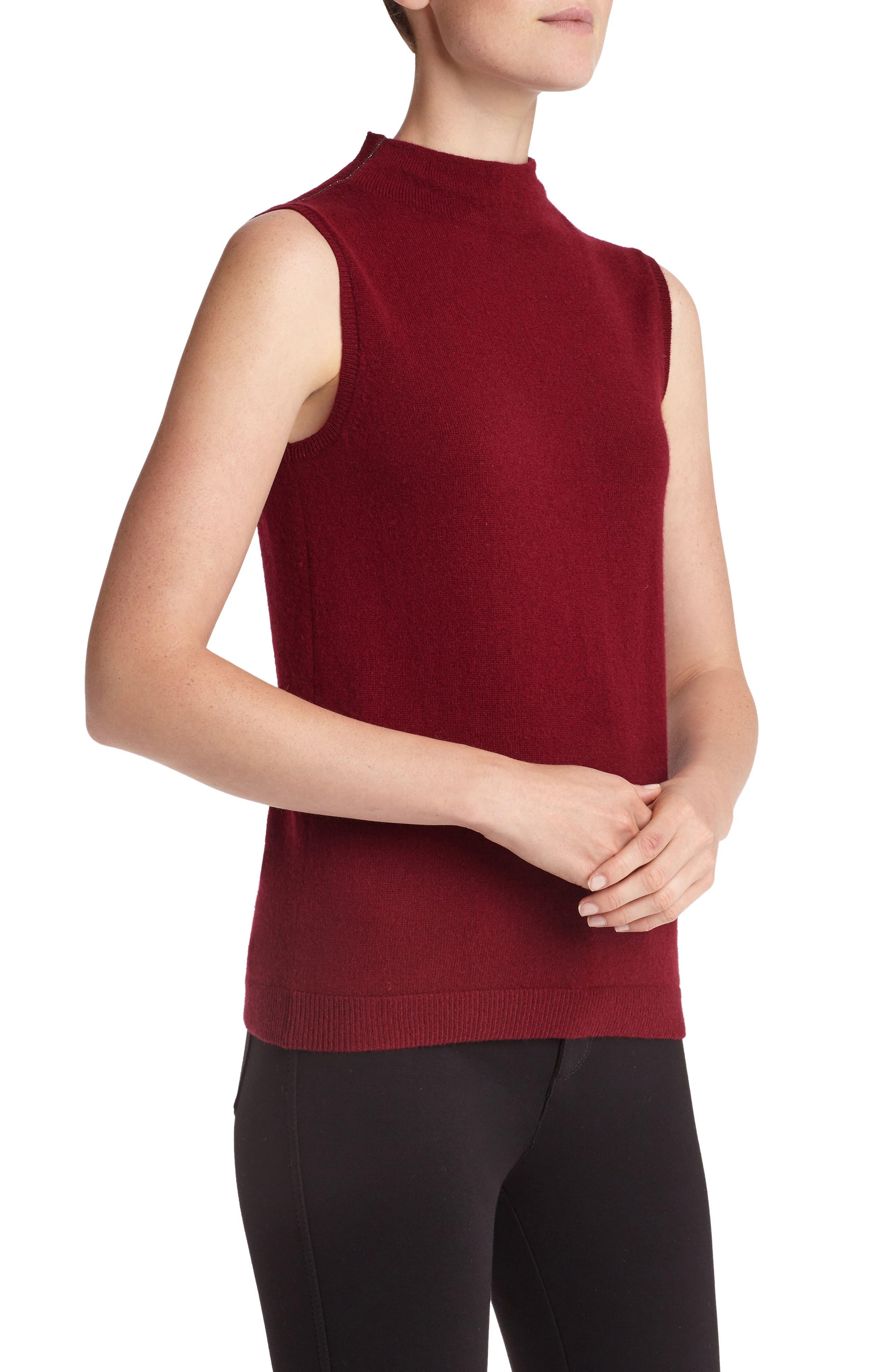 Sequin Trim Cashmere Mock Neck Sweater,                             Alternate thumbnail 3, color,                             Shiraz