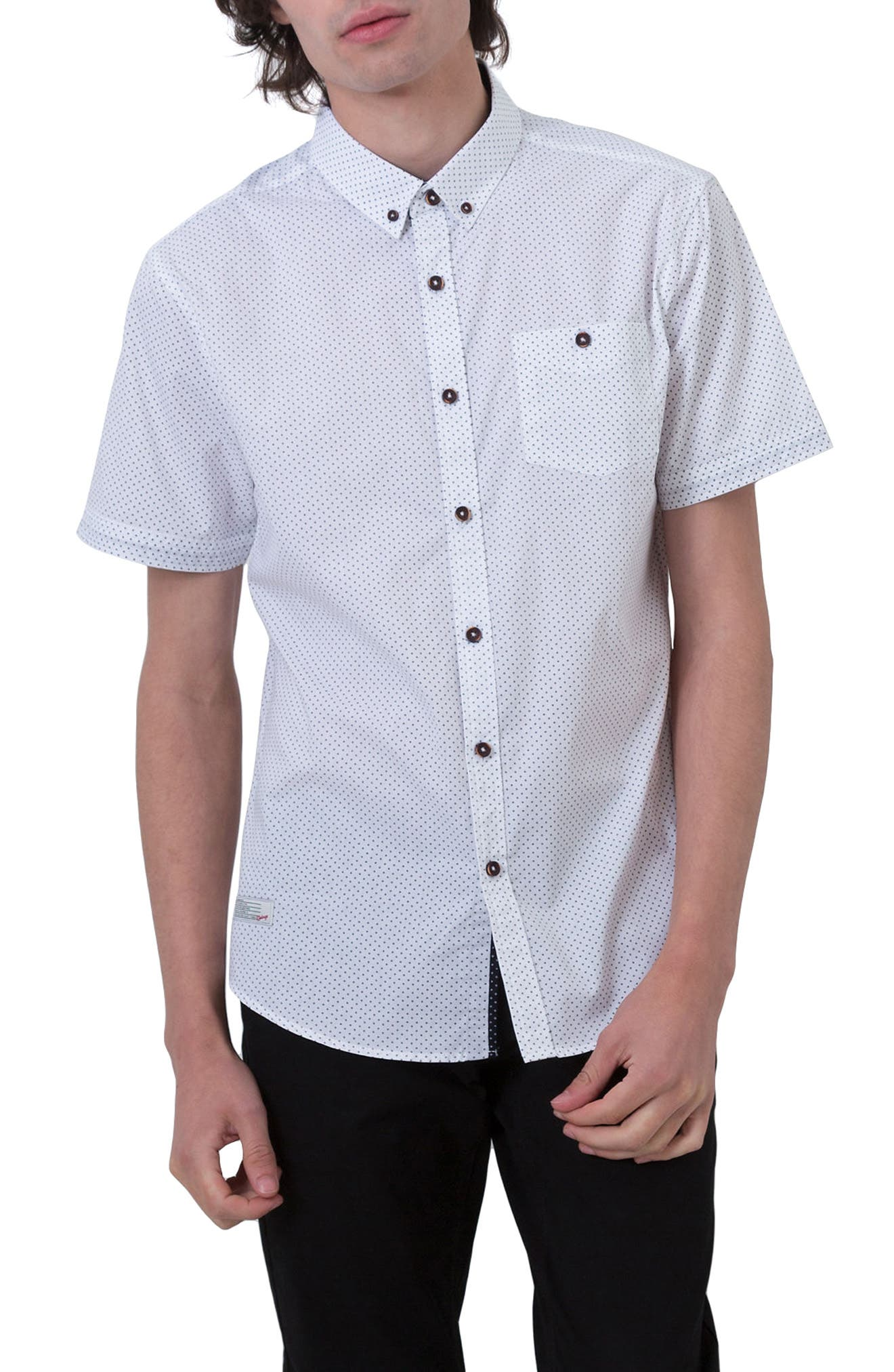 Move On Microprint Woven Shirt,                             Main thumbnail 1, color,                             White