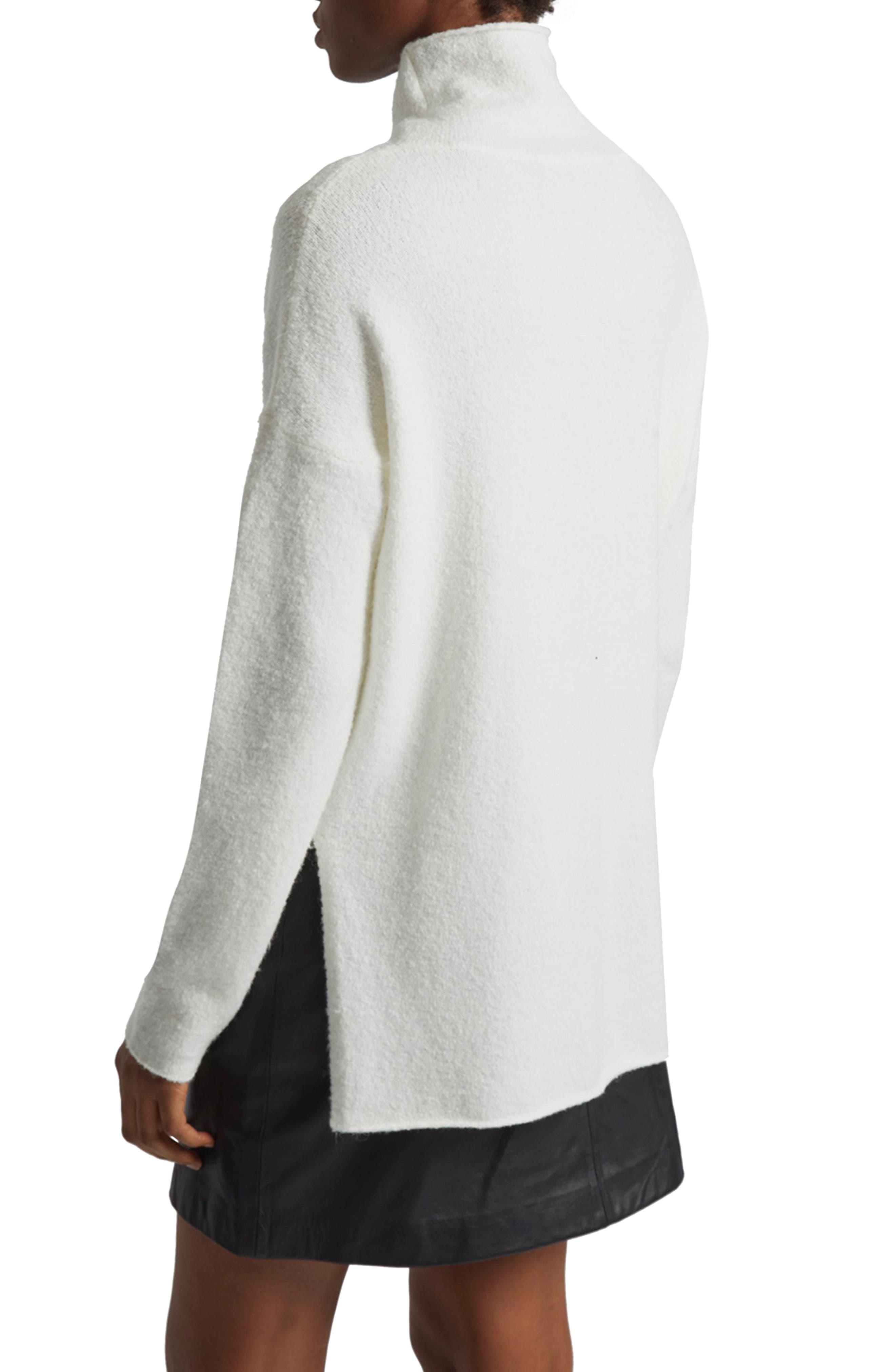 Aya Flossy Mock Neck Sweater,                             Alternate thumbnail 2, color,                             Winter White