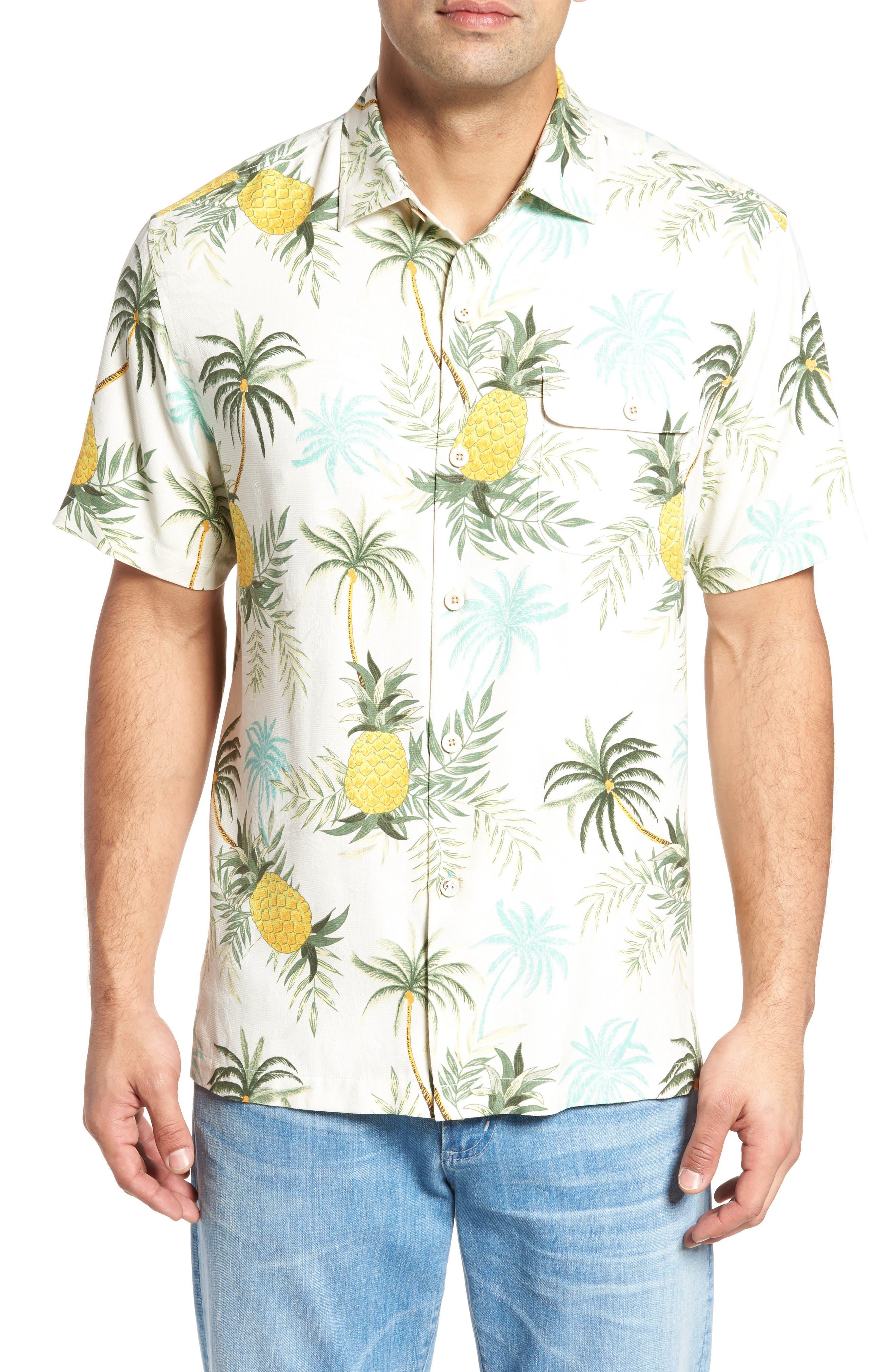 Camp Colada Silk Camp Shirt,                         Main,                         color, Coconut Cream