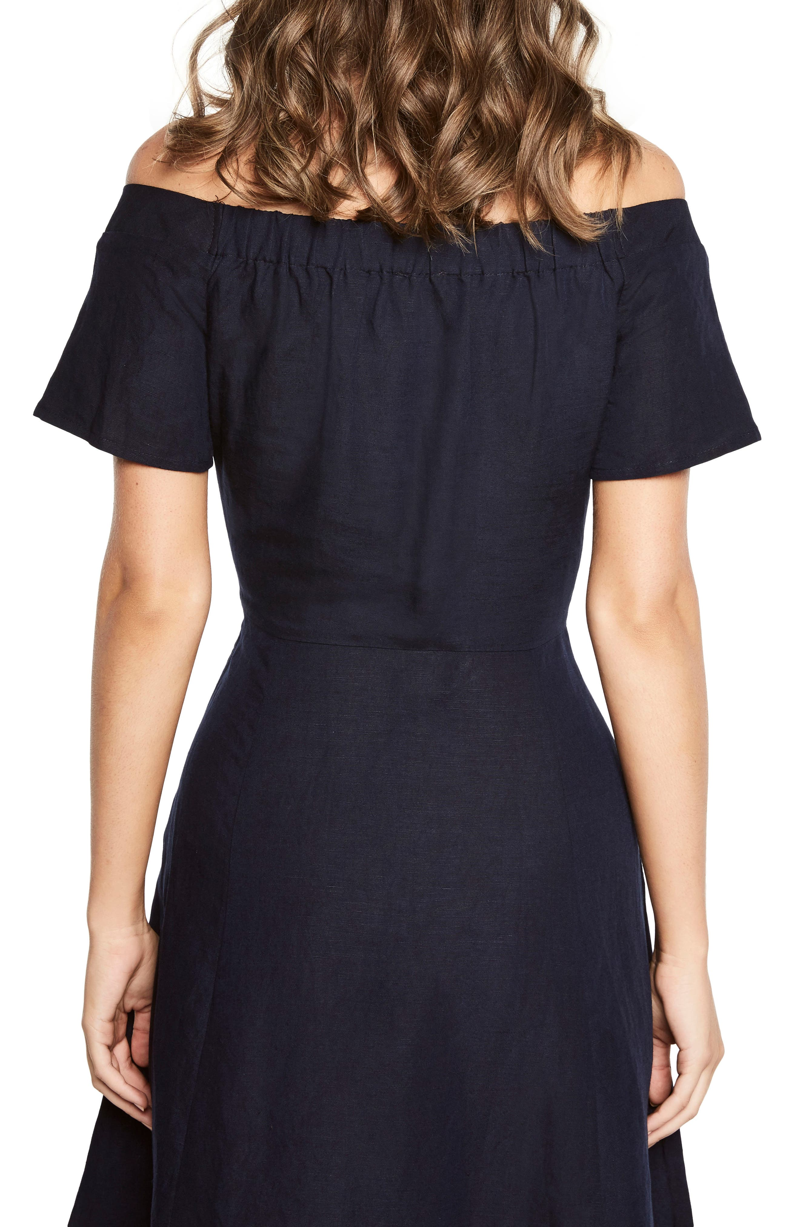 Ophelia Off the Shoulder Dress,                             Alternate thumbnail 2, color,                             Navy