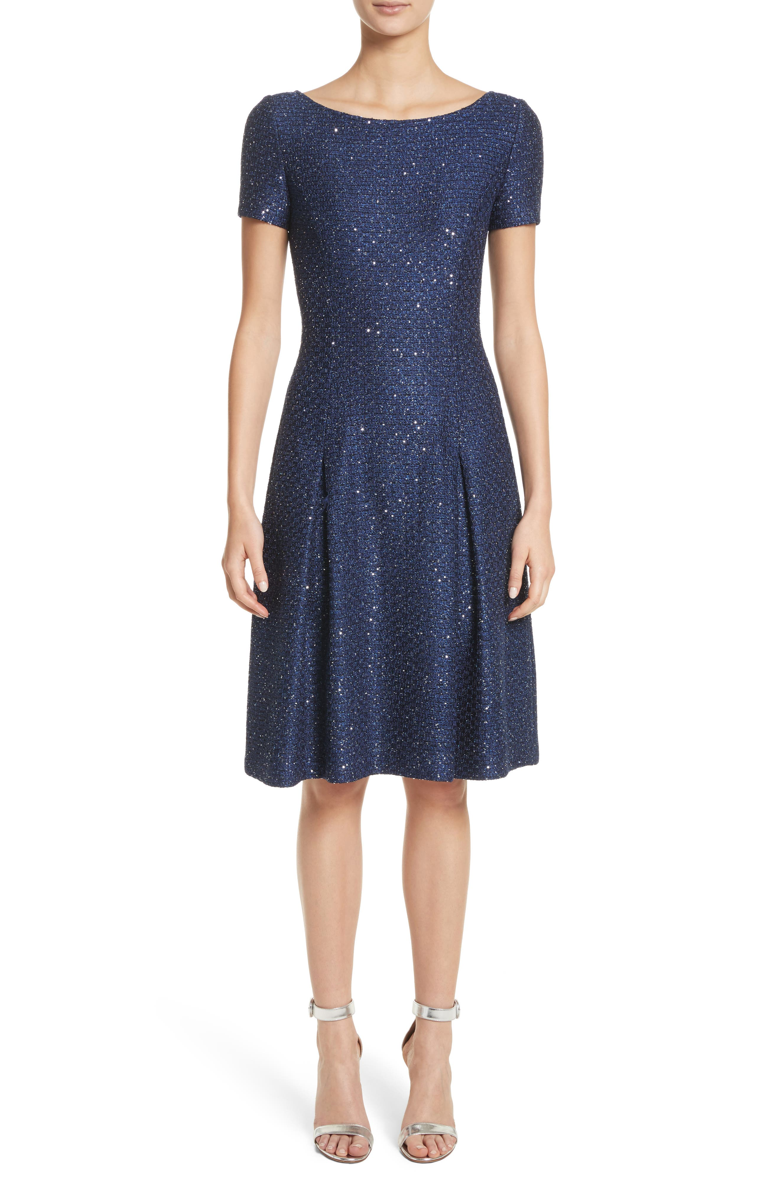 Sparkle Sequin Knit Fit & Flare Dress,                             Main thumbnail 1, color,                             Navy Multi