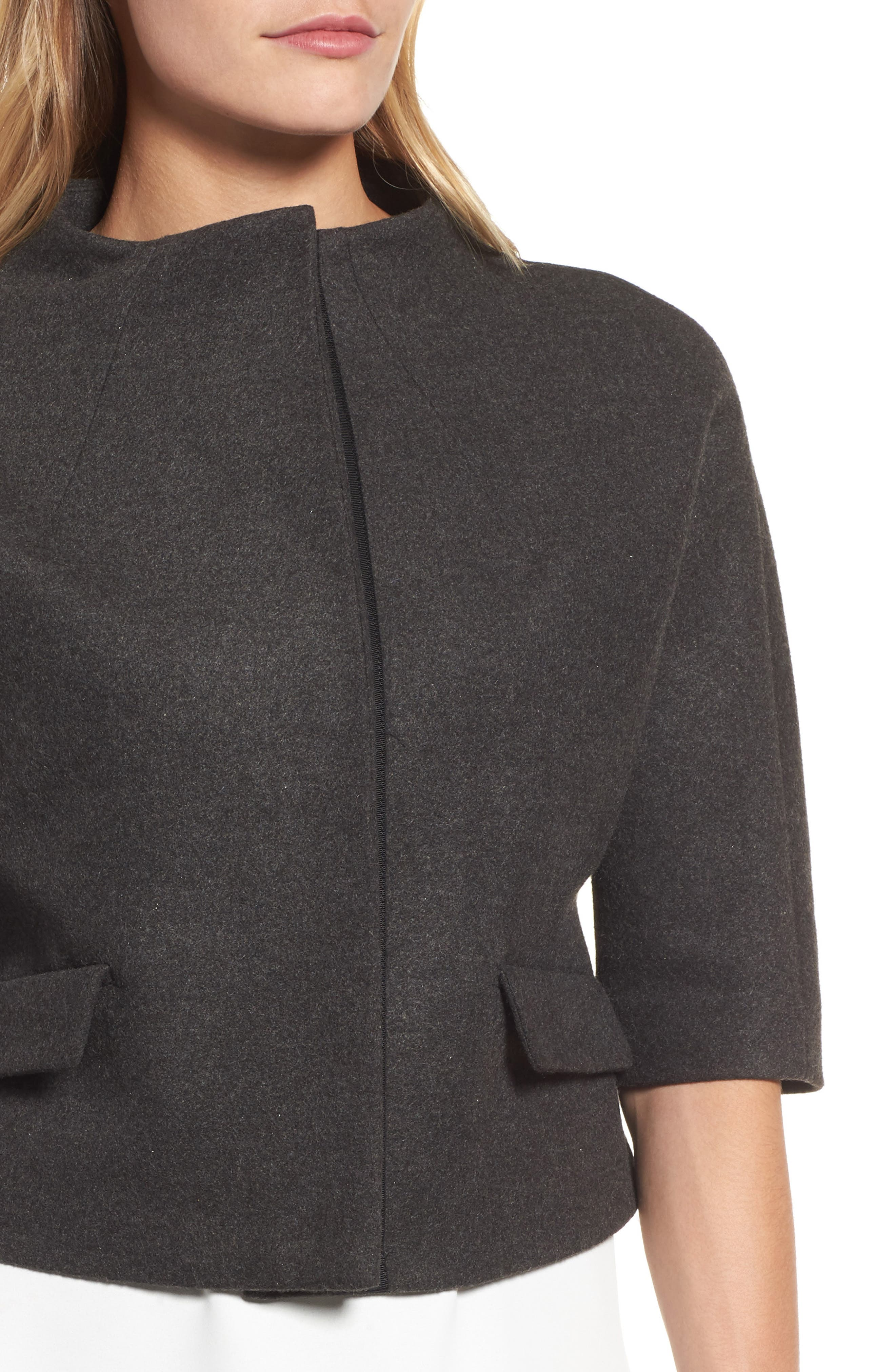 Funnel Neck Cropped Jacket,                             Alternate thumbnail 4, color,                             Heather Grey