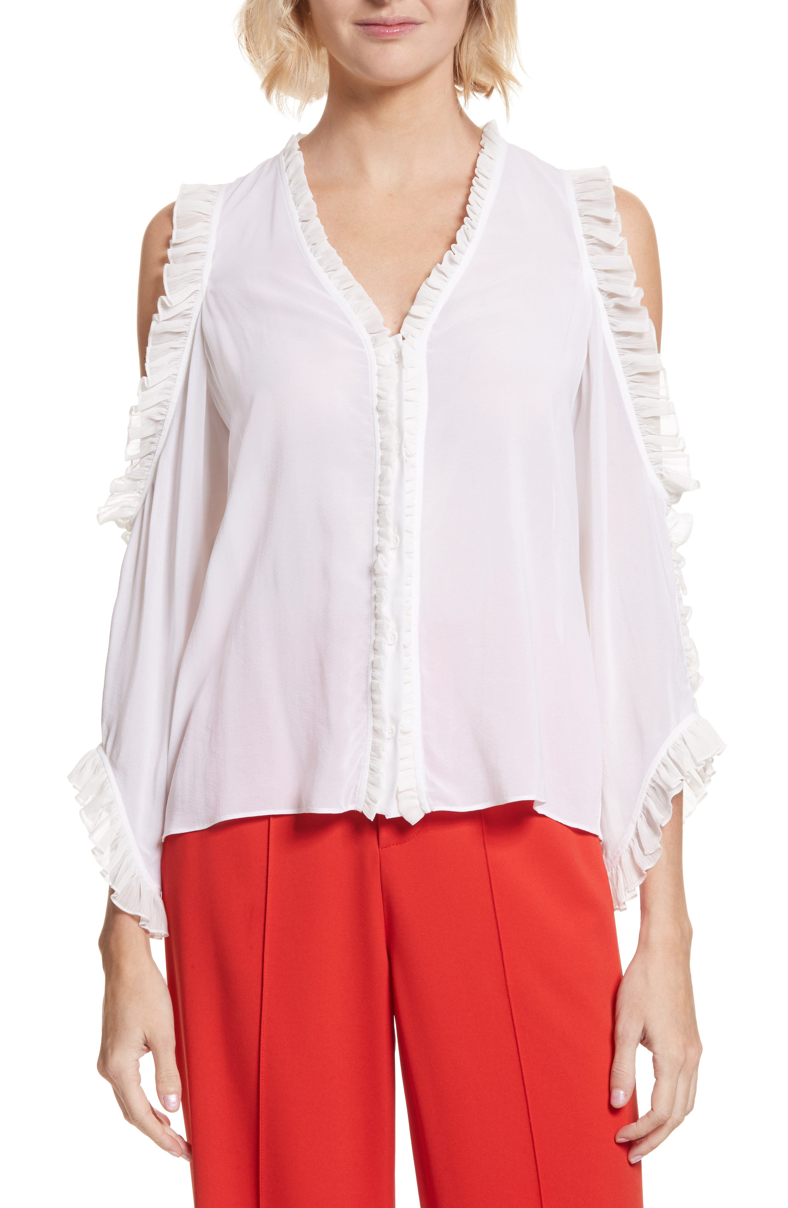Claudette Ruffle Stretch Silk Top,                         Main,                         color, Off White