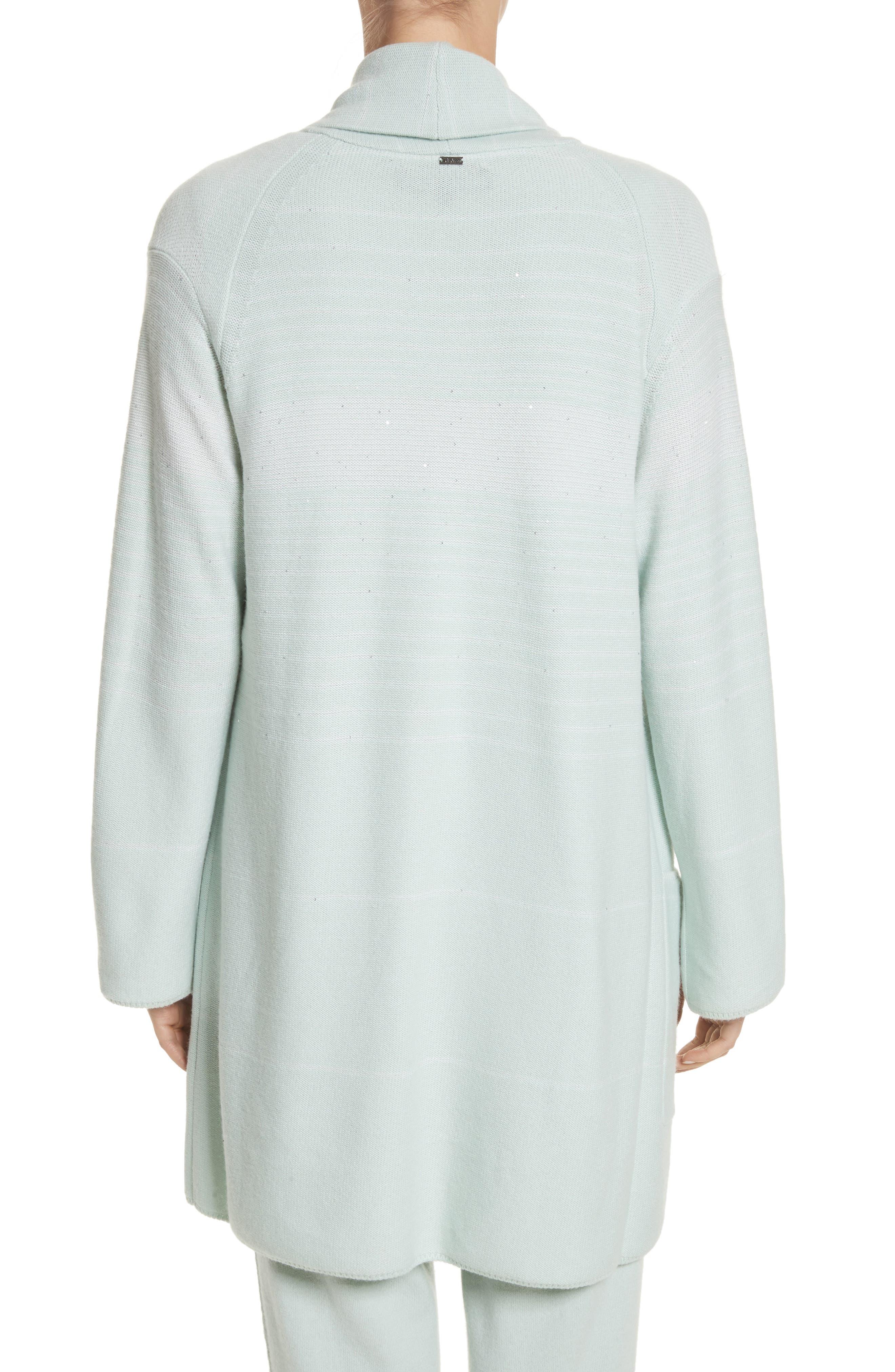 Sequin Cashmere & Silk Cardigan,                             Alternate thumbnail 2, color,                             Mint/ Cream