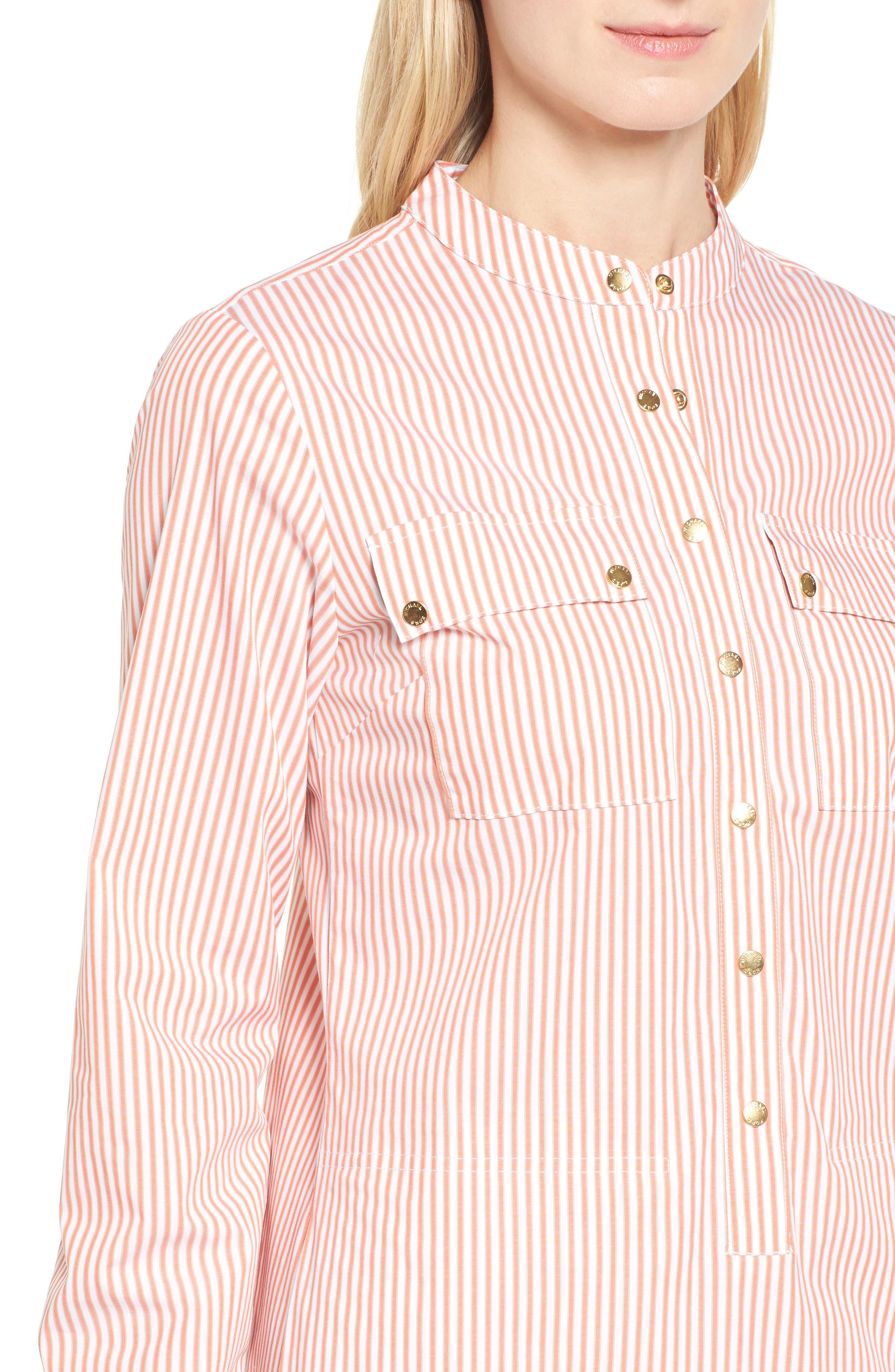 Stripe Button Down Shirtdress,                             Alternate thumbnail 4, color,                             Poppy