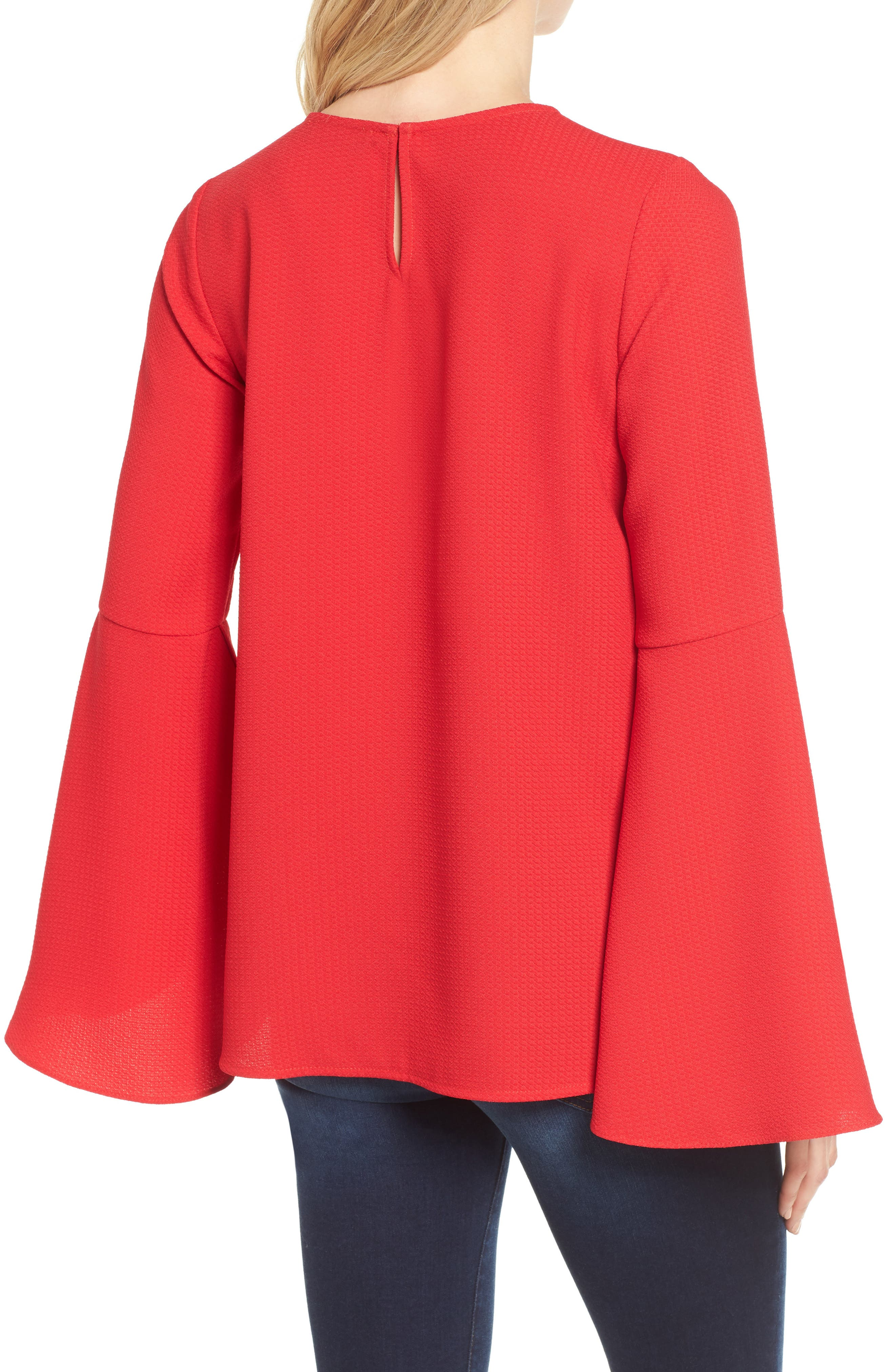 Bell Sleeve Top,                             Alternate thumbnail 2, color,                             Red Pepper