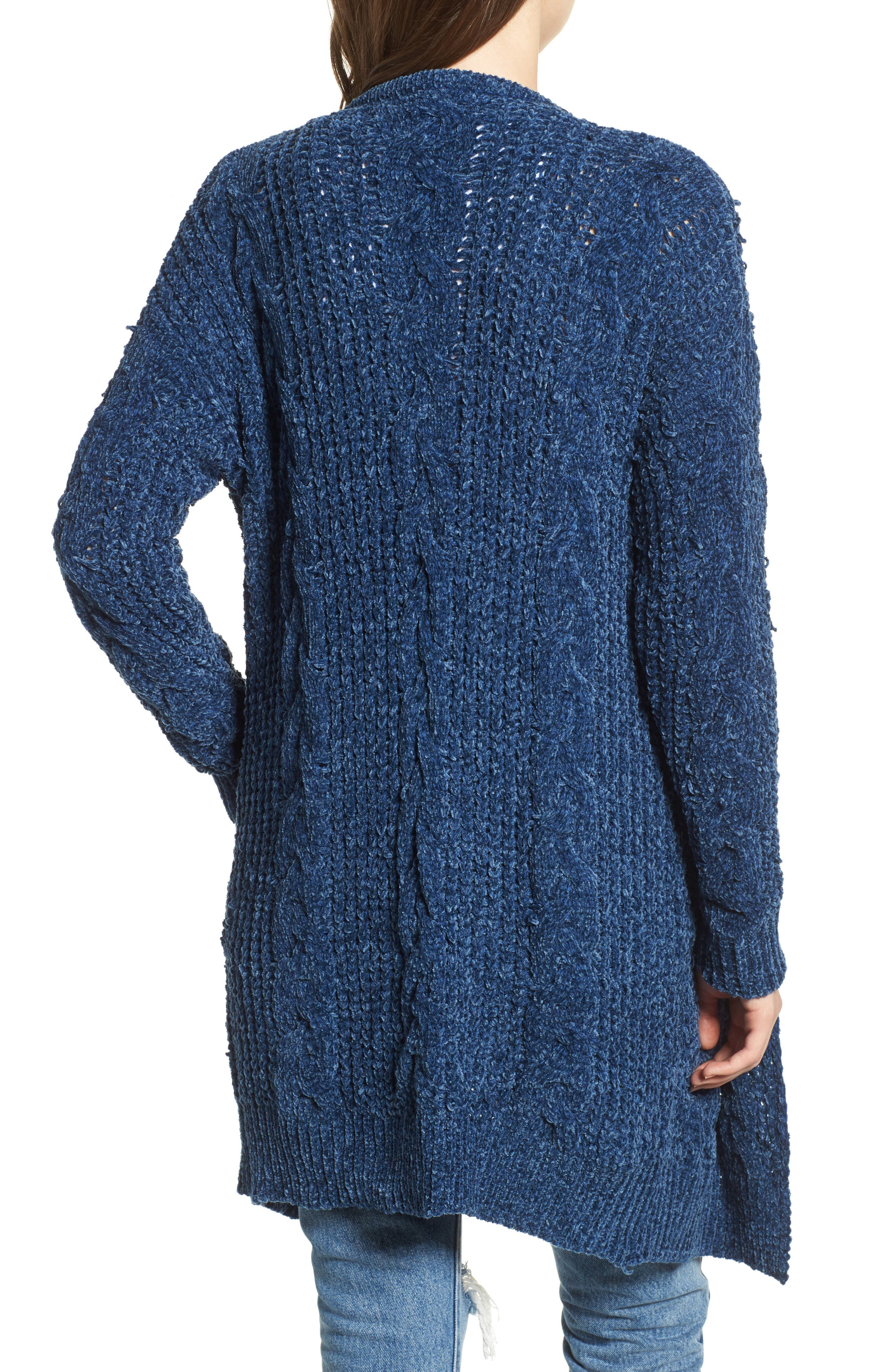 Alternate Image 2  - Woven Heart Cable Knit Chenille Cardigan