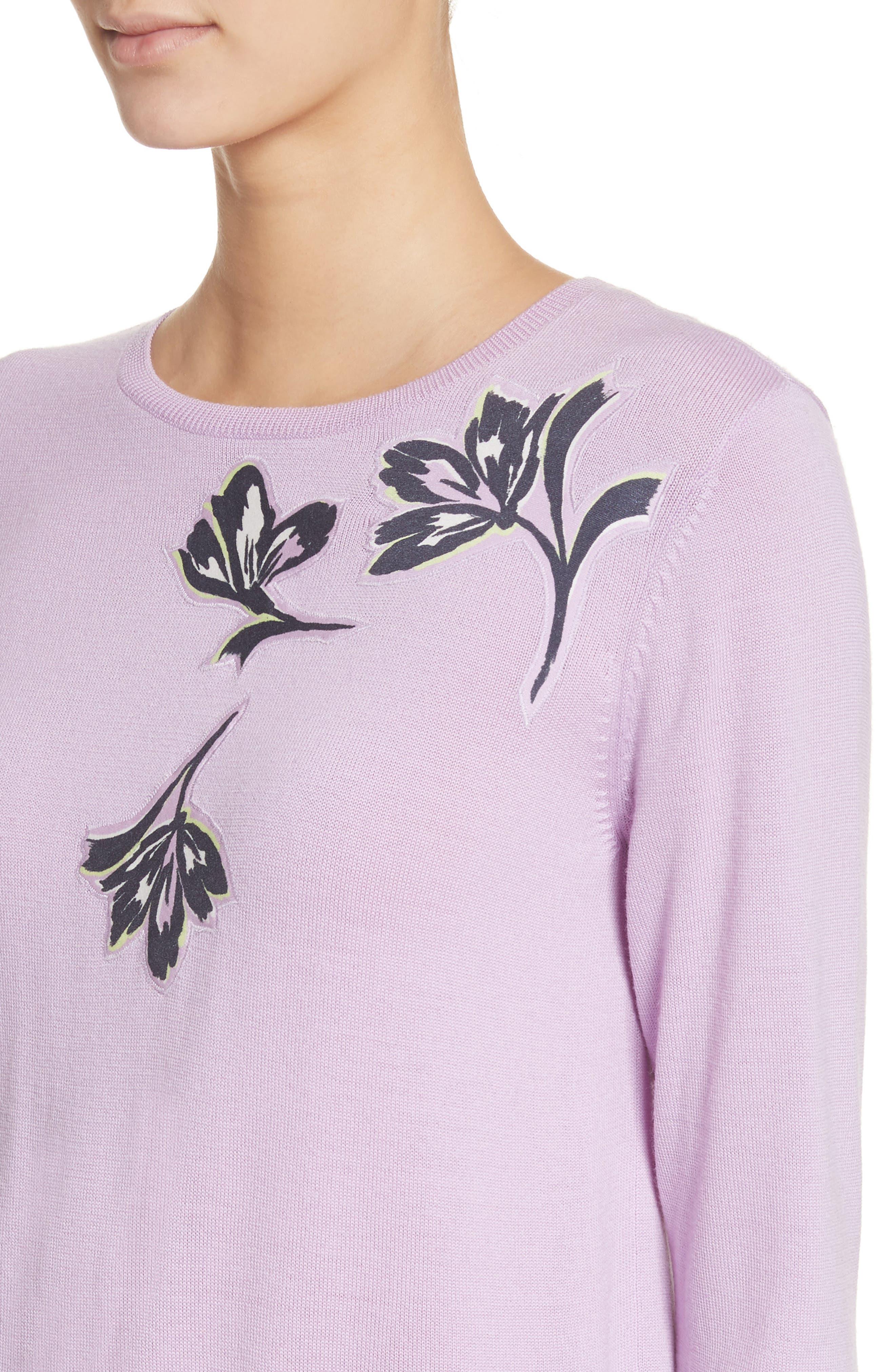 Floral Appliqué Wool Sweater,                             Alternate thumbnail 4, color,                             Orchid Multi