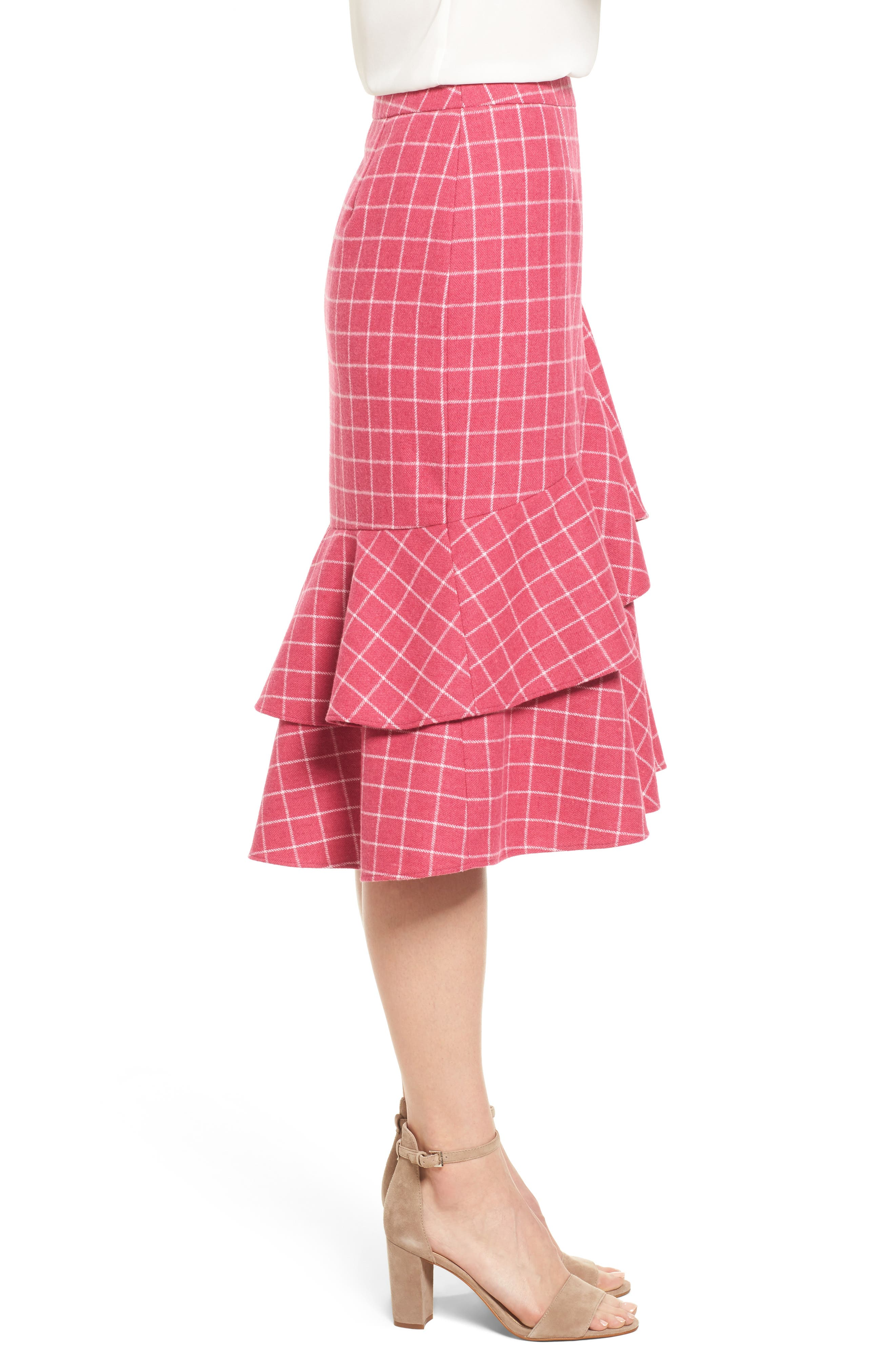 Windowpane Print Ruffle Skirt,                             Alternate thumbnail 3, color,                             Pink Windowpane