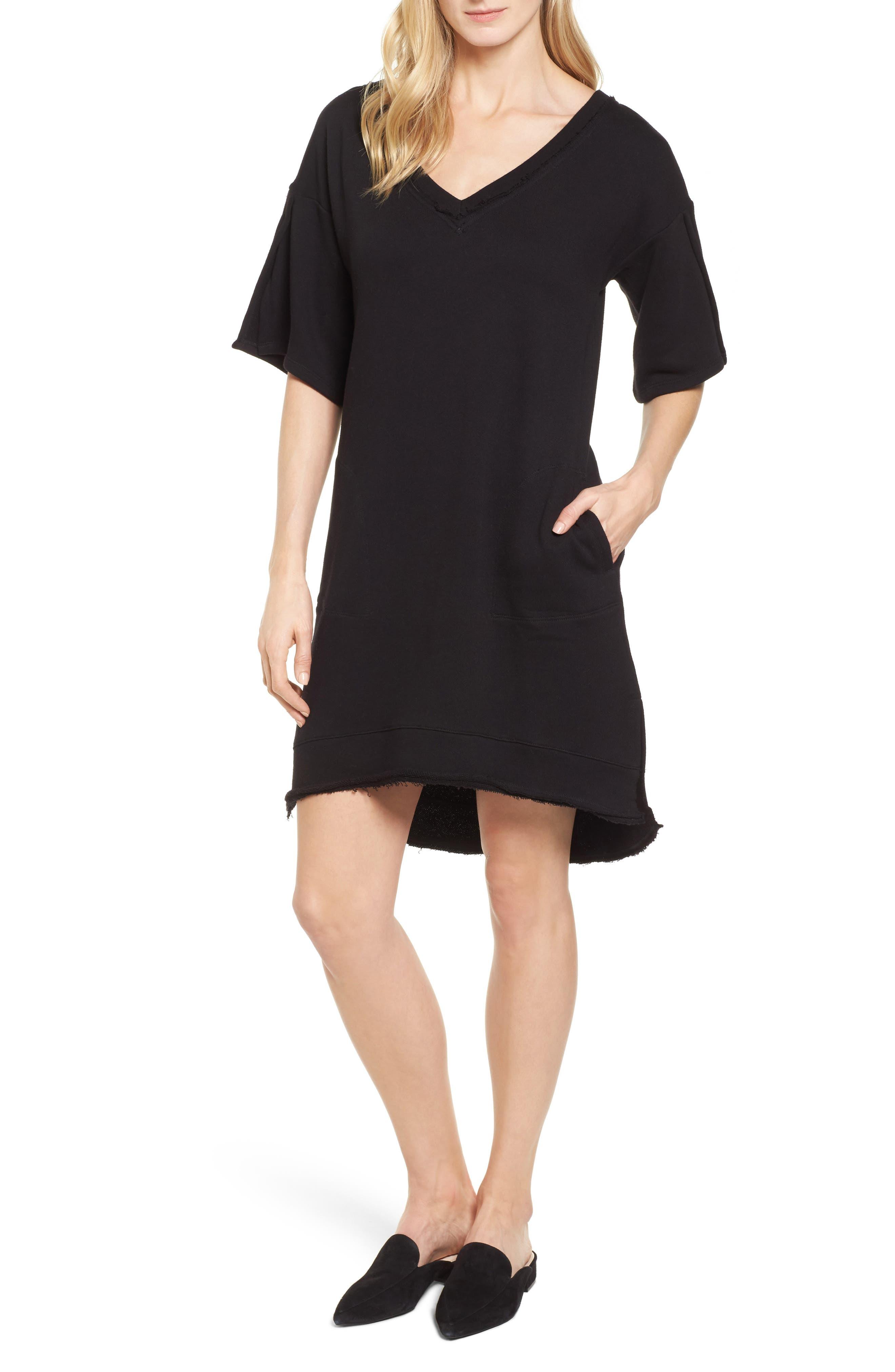 Lace-Up T-Shirt Dress,                         Main,                         color, Black
