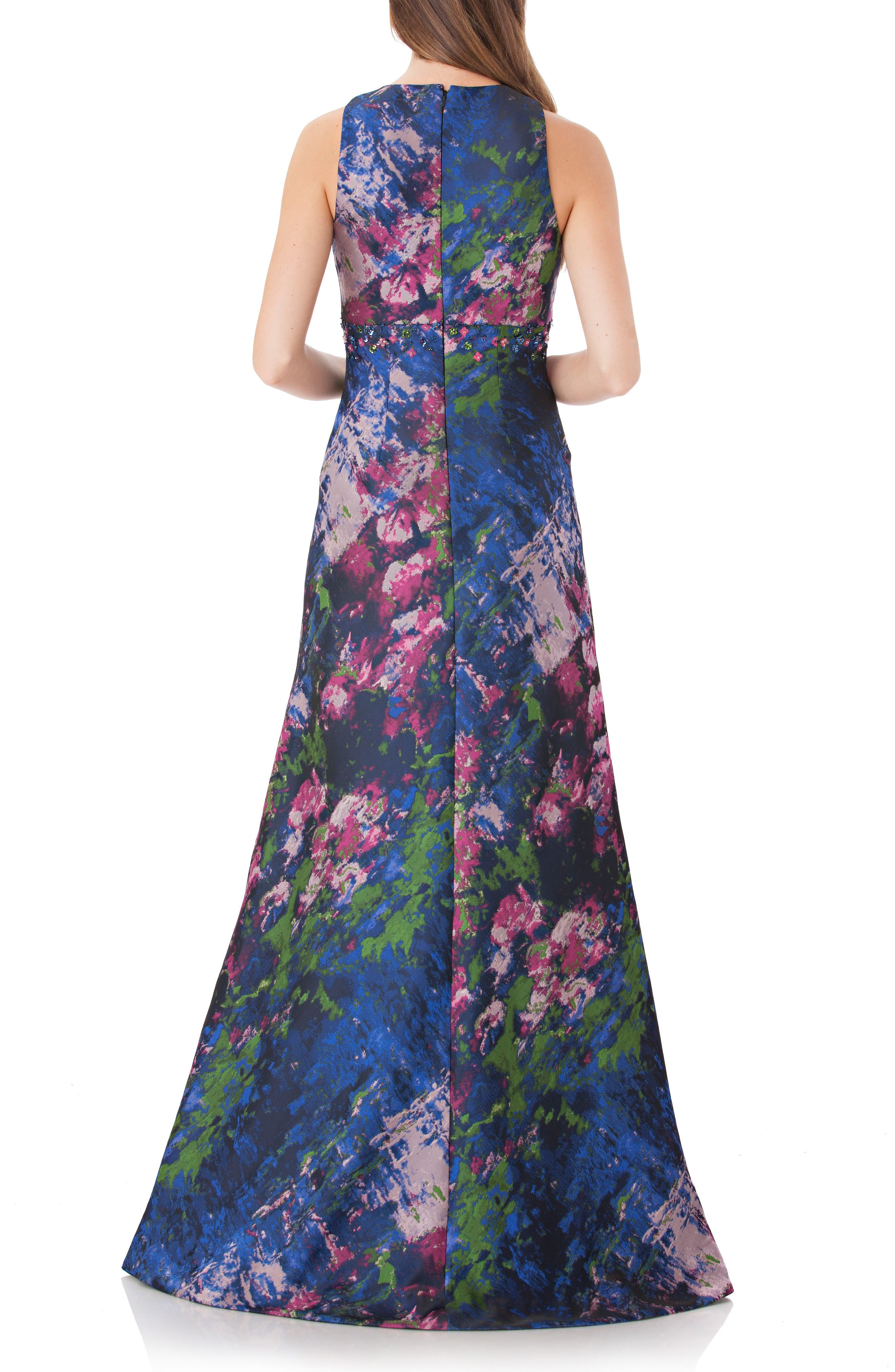 Brocade Gown,                             Alternate thumbnail 2, color,                             Navy/ Multi