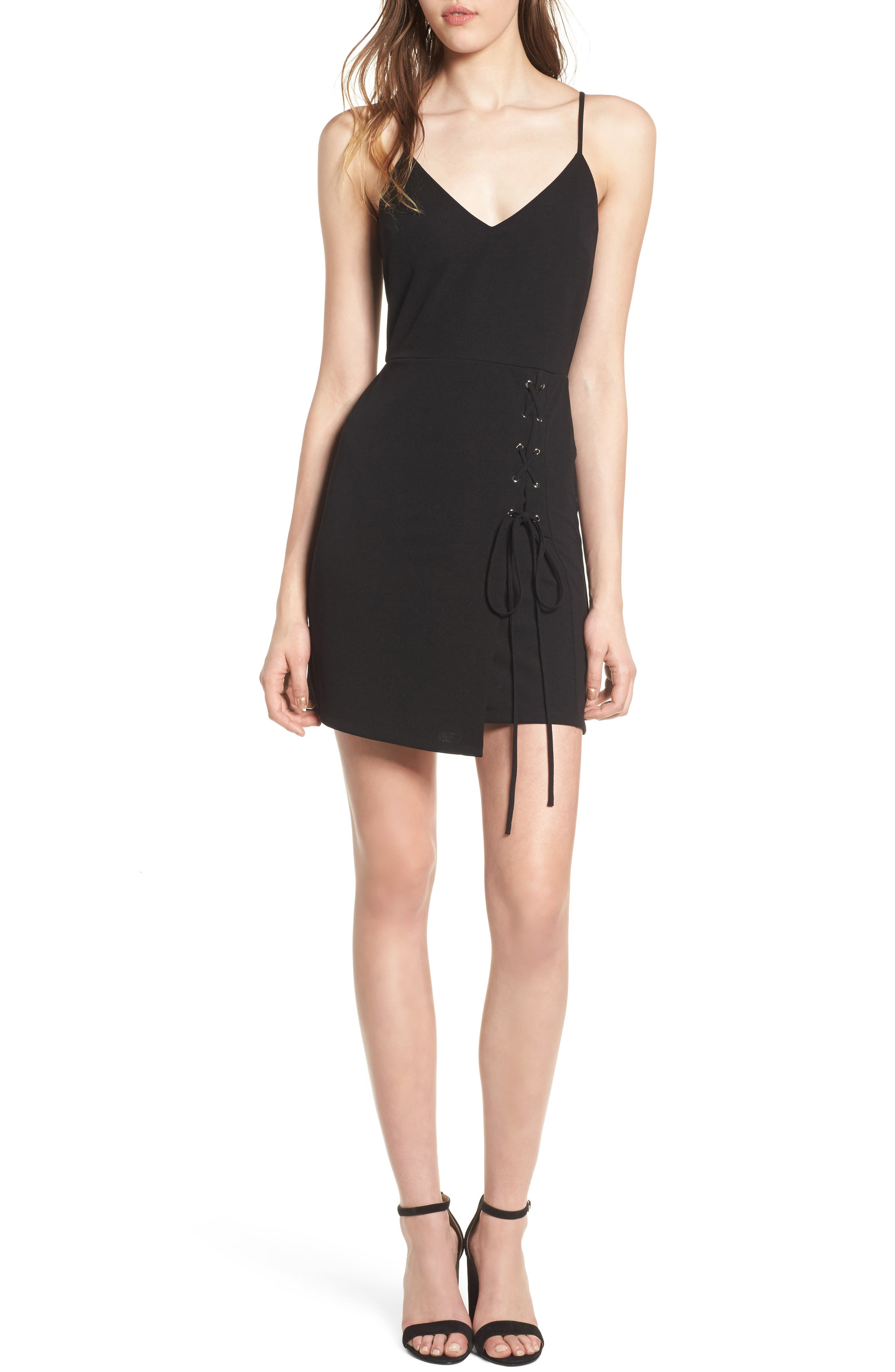 Lace-Up Body-Con Dress,                         Main,                         color, Black