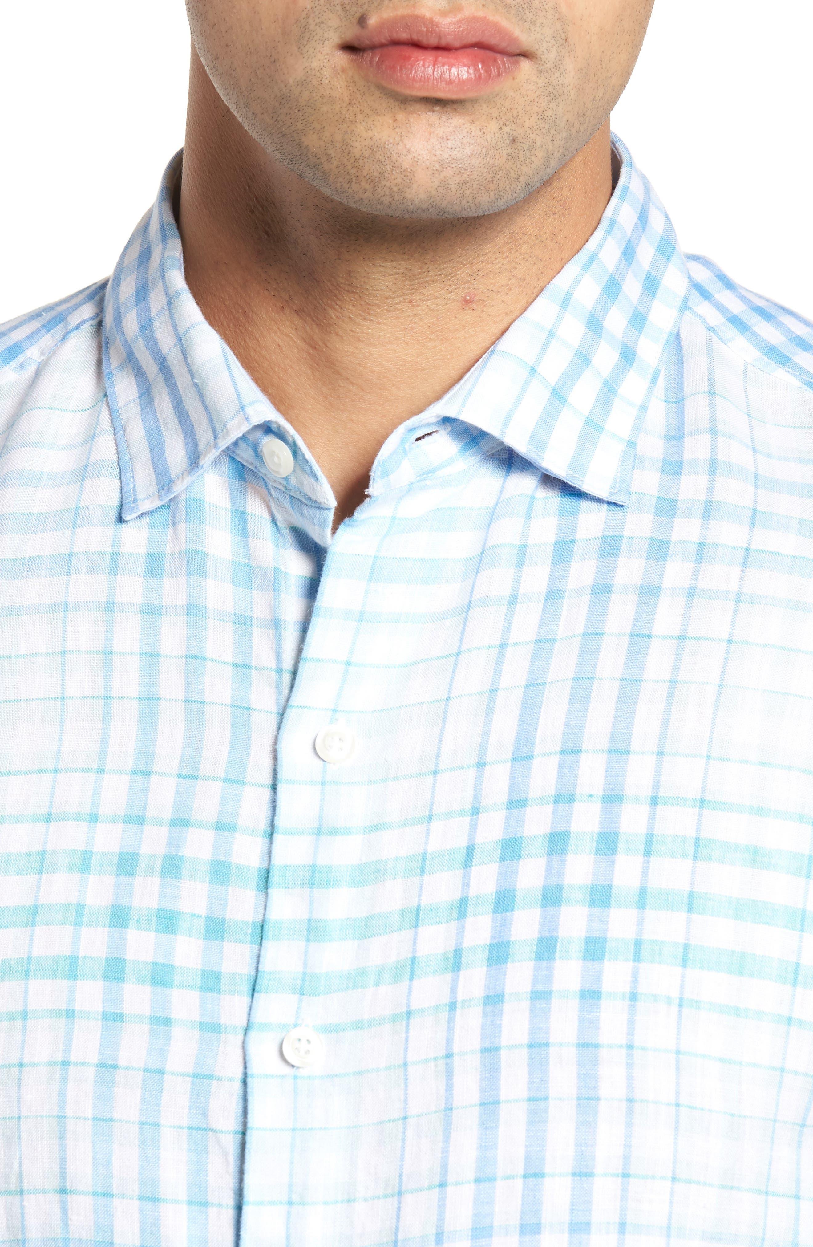 Malahina Plaid Linen Sport Shirt,                             Alternate thumbnail 4, color,                             Blue Canal