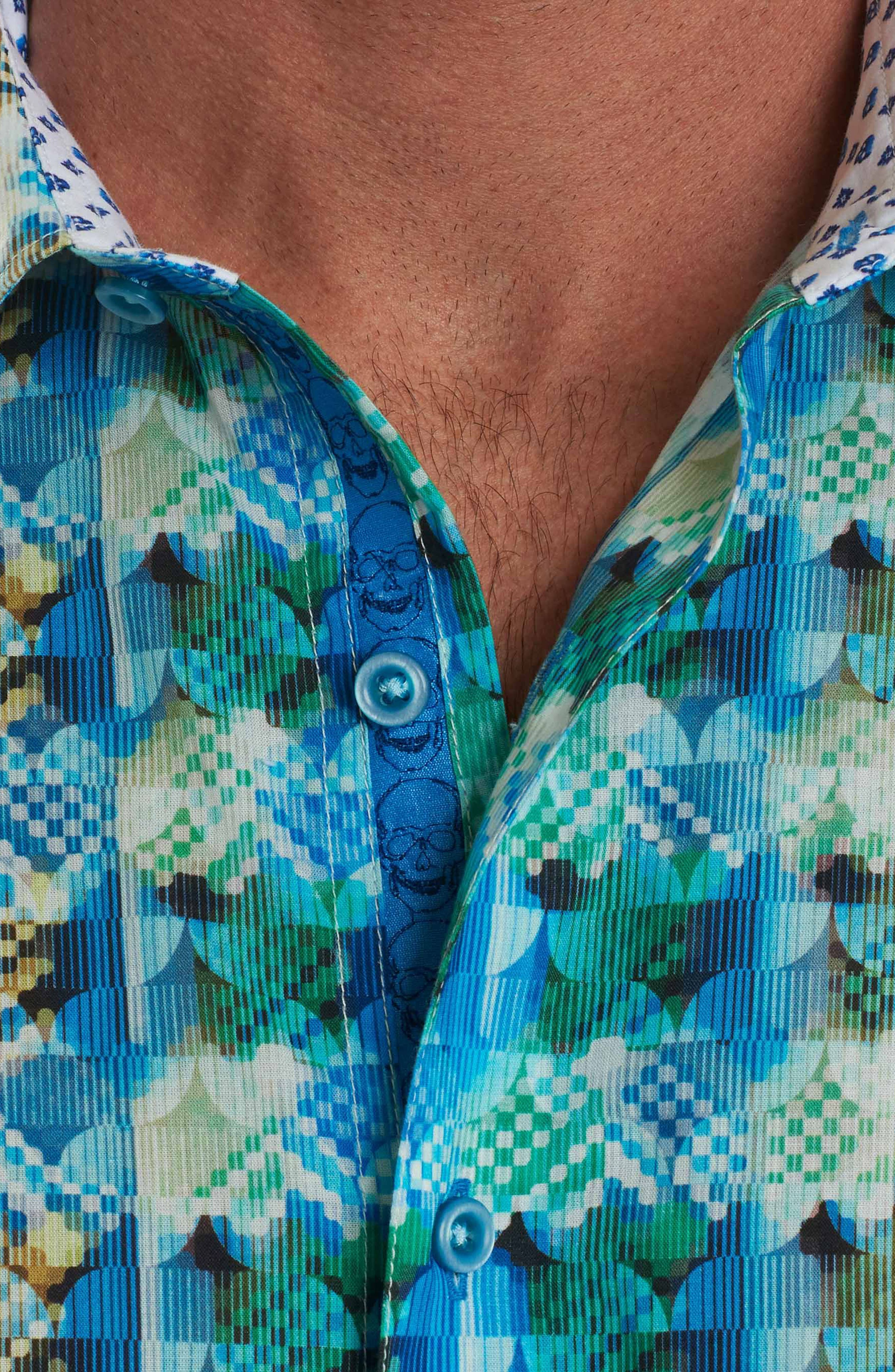 Illusions Sport Shirt,                             Alternate thumbnail 4, color,                             Turquoise
