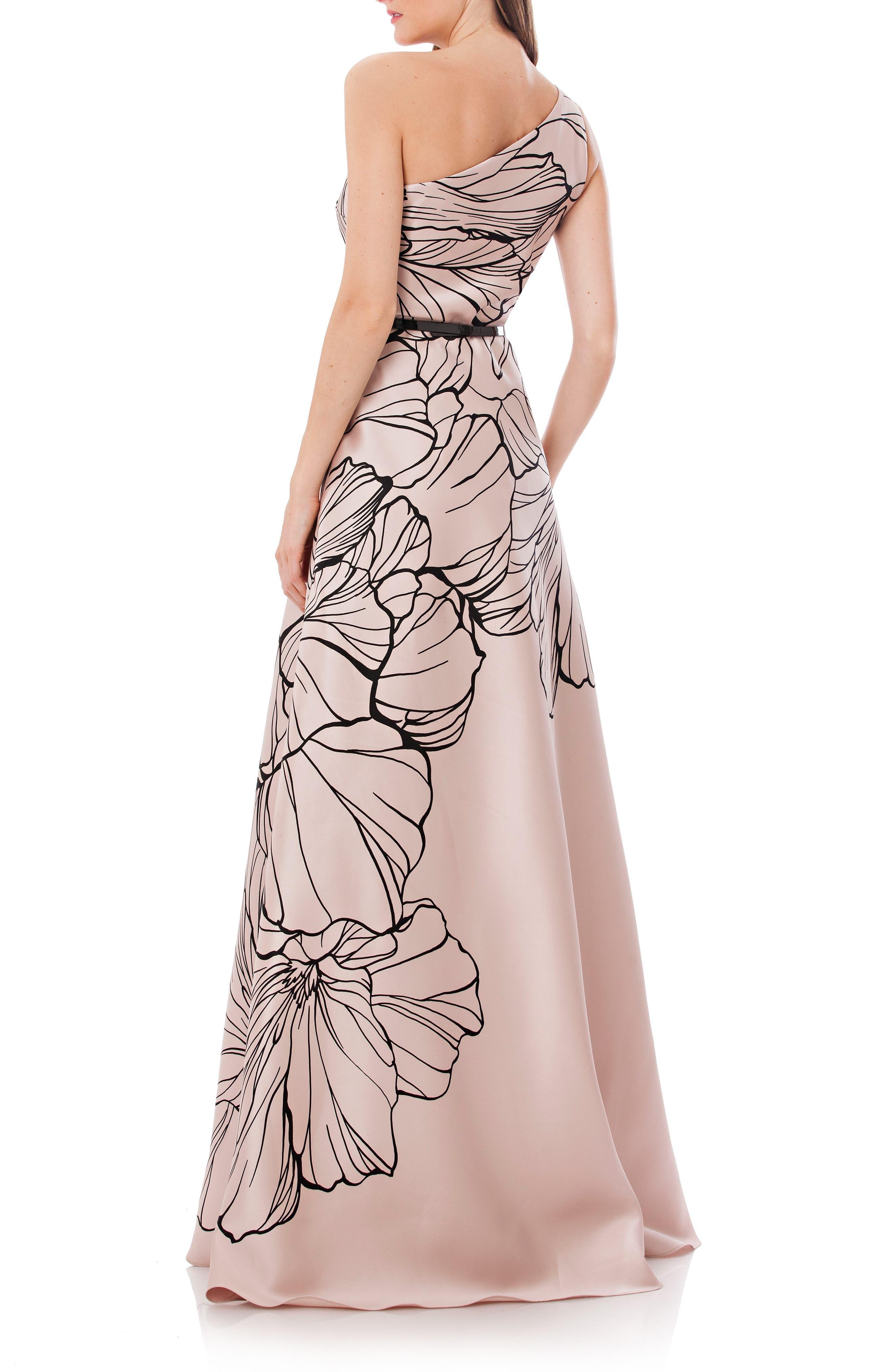 Alternate Image 2  - Carmen Marc Valvo Infusion Print One-Shoulder Mikado Gown