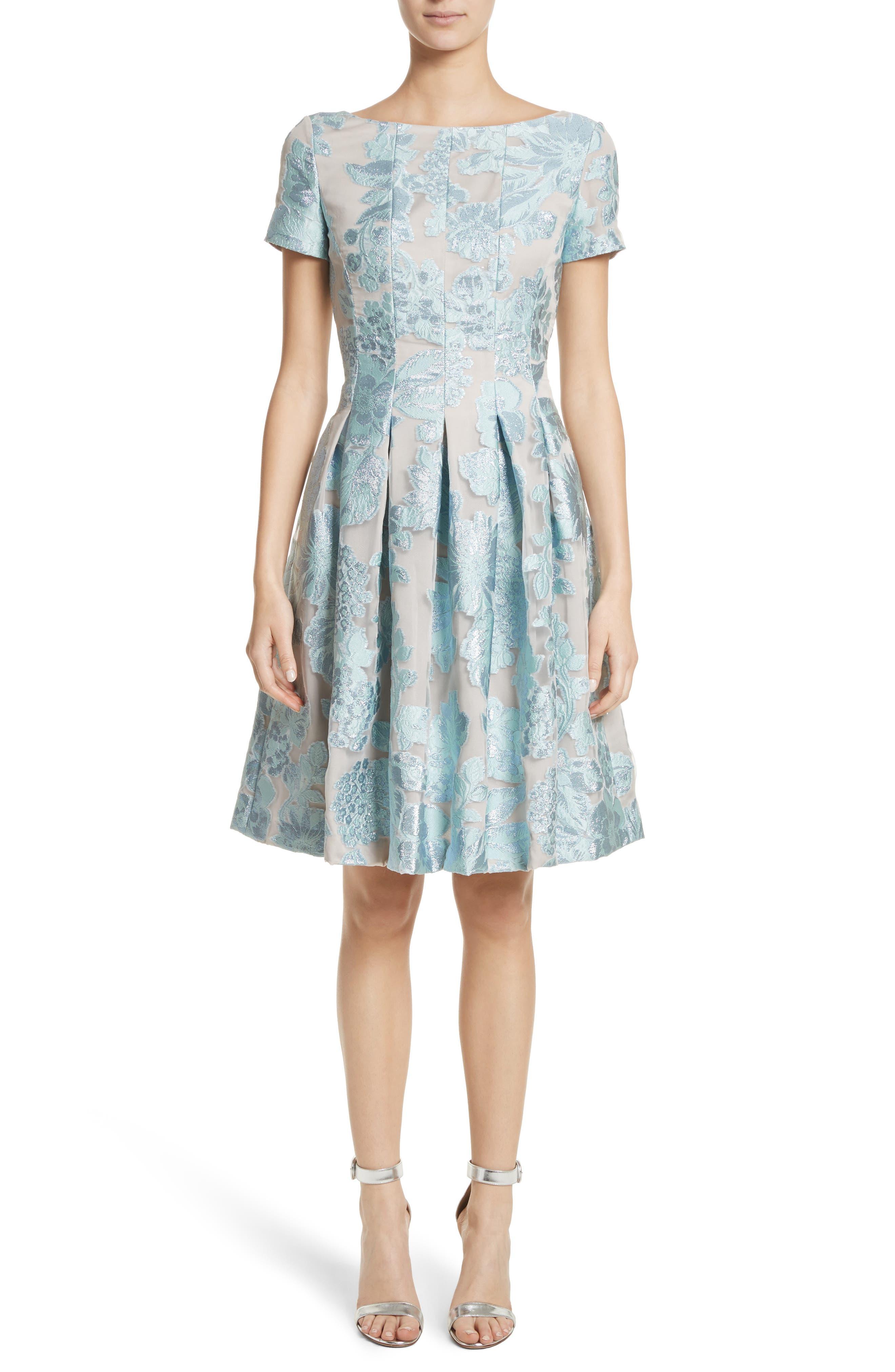 Floral Fil Coupé Organza Dress,                         Main,                         color, Mint/ Silver