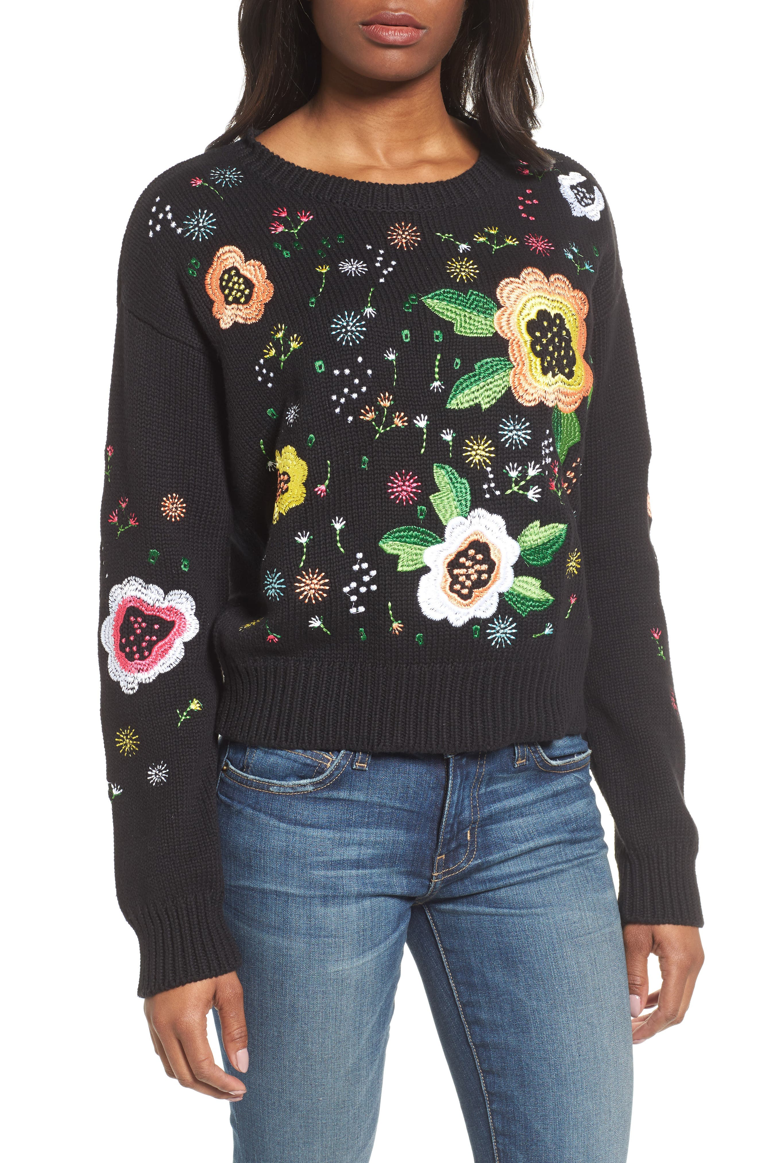 Floral Embroidered Sweater,                         Main,                         color, Black