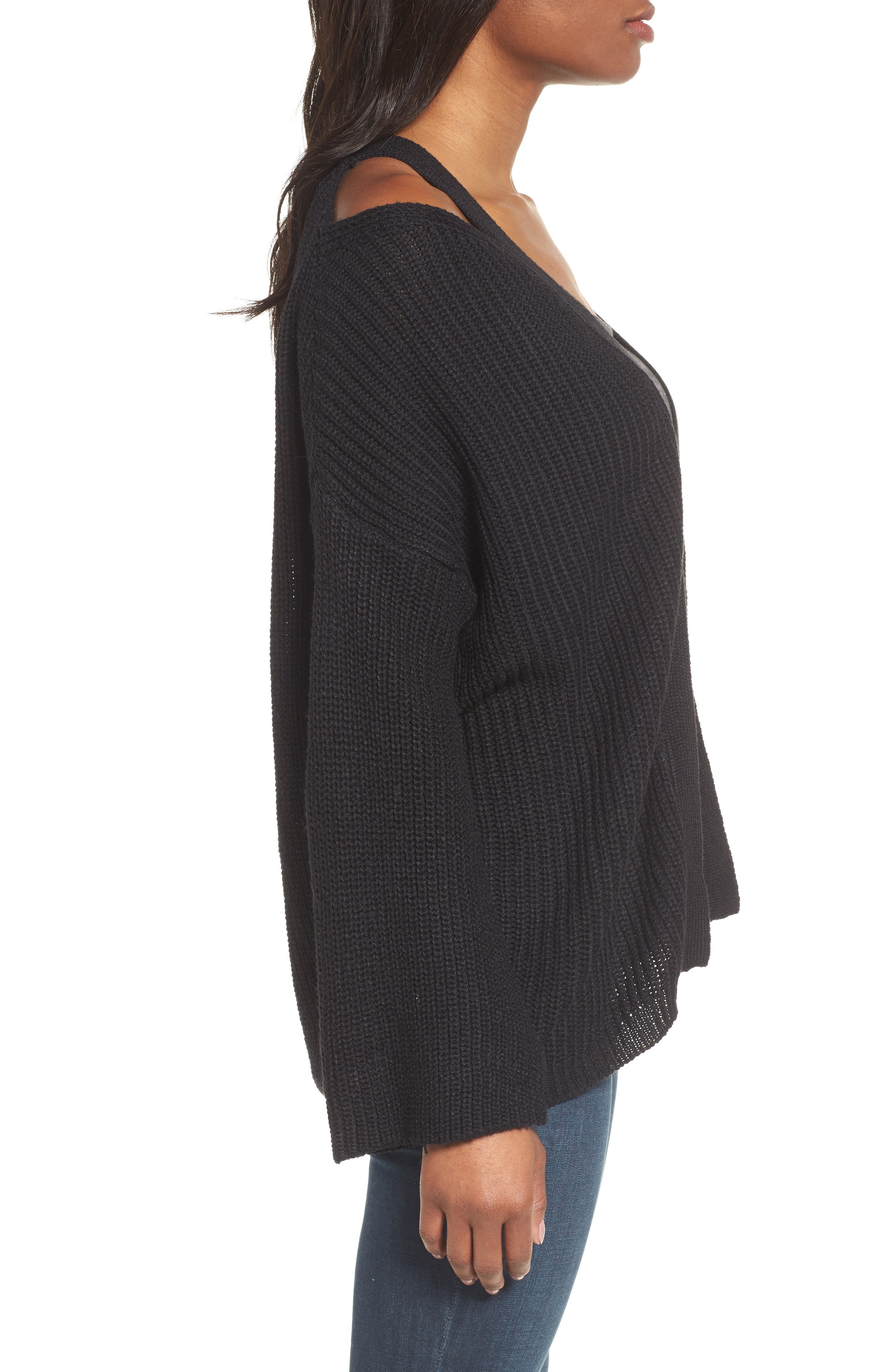 Cutout Cardigan,                             Alternate thumbnail 3, color,                             Black